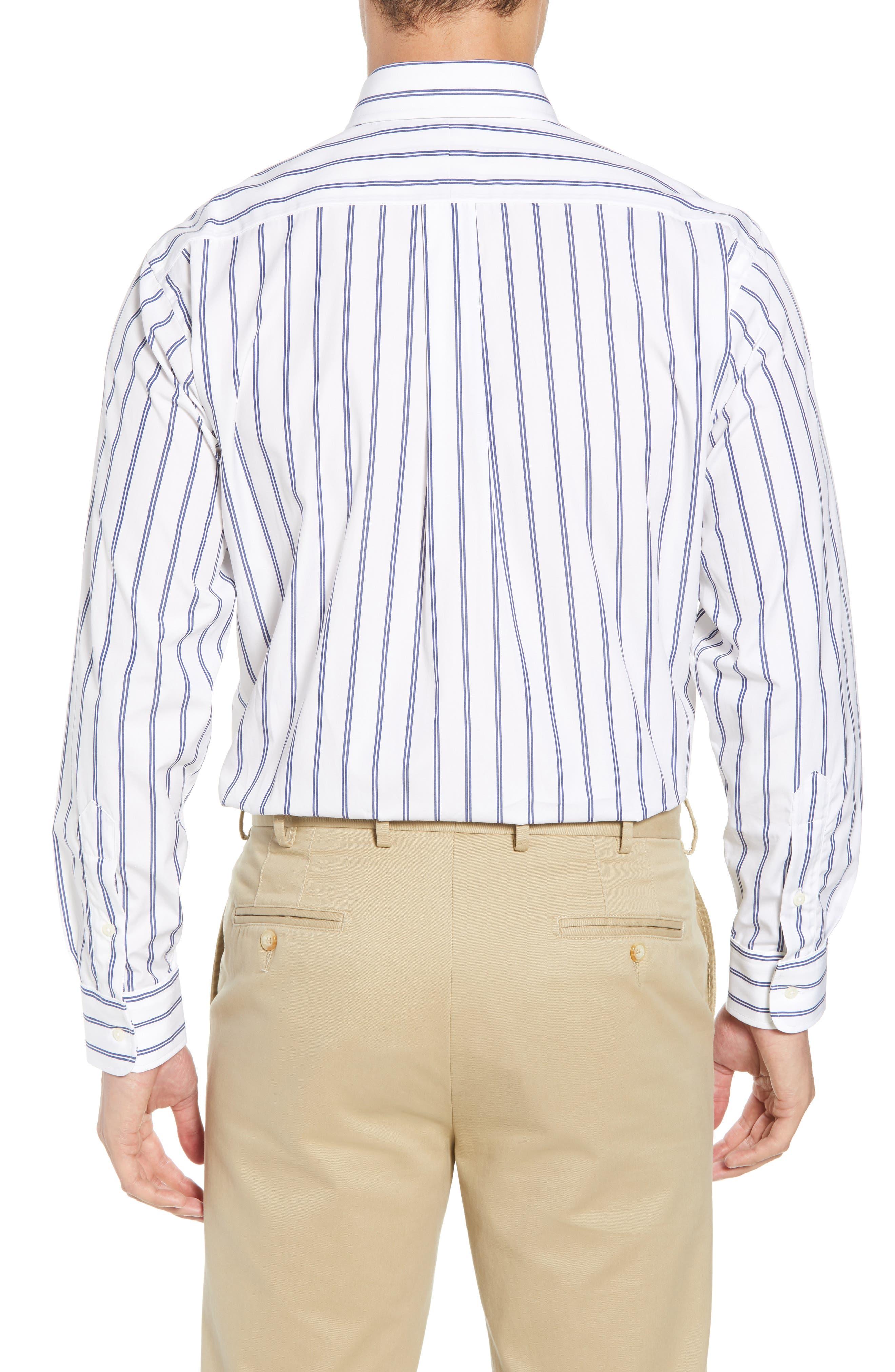 Tailored Fit Stripe Dress Shirt,                             Alternate thumbnail 3, color,                             100