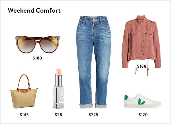 Weekend comfort: women's clothing, shoes, handbags, sunglasses and beauty.