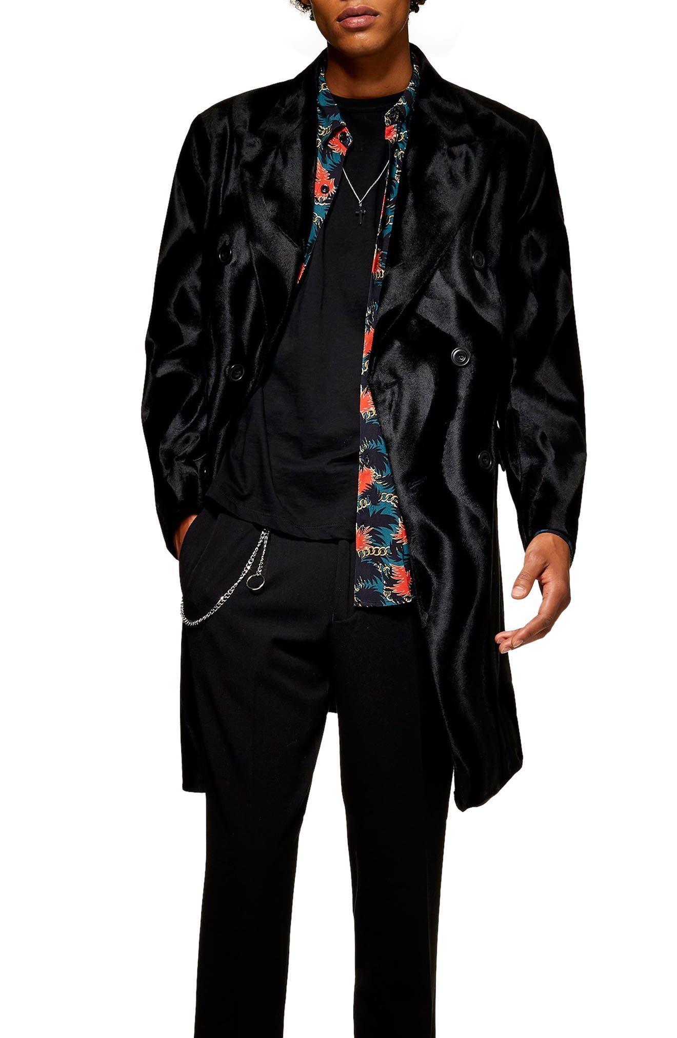 TOPMAN Faux Ponyhair Overcoat in Black