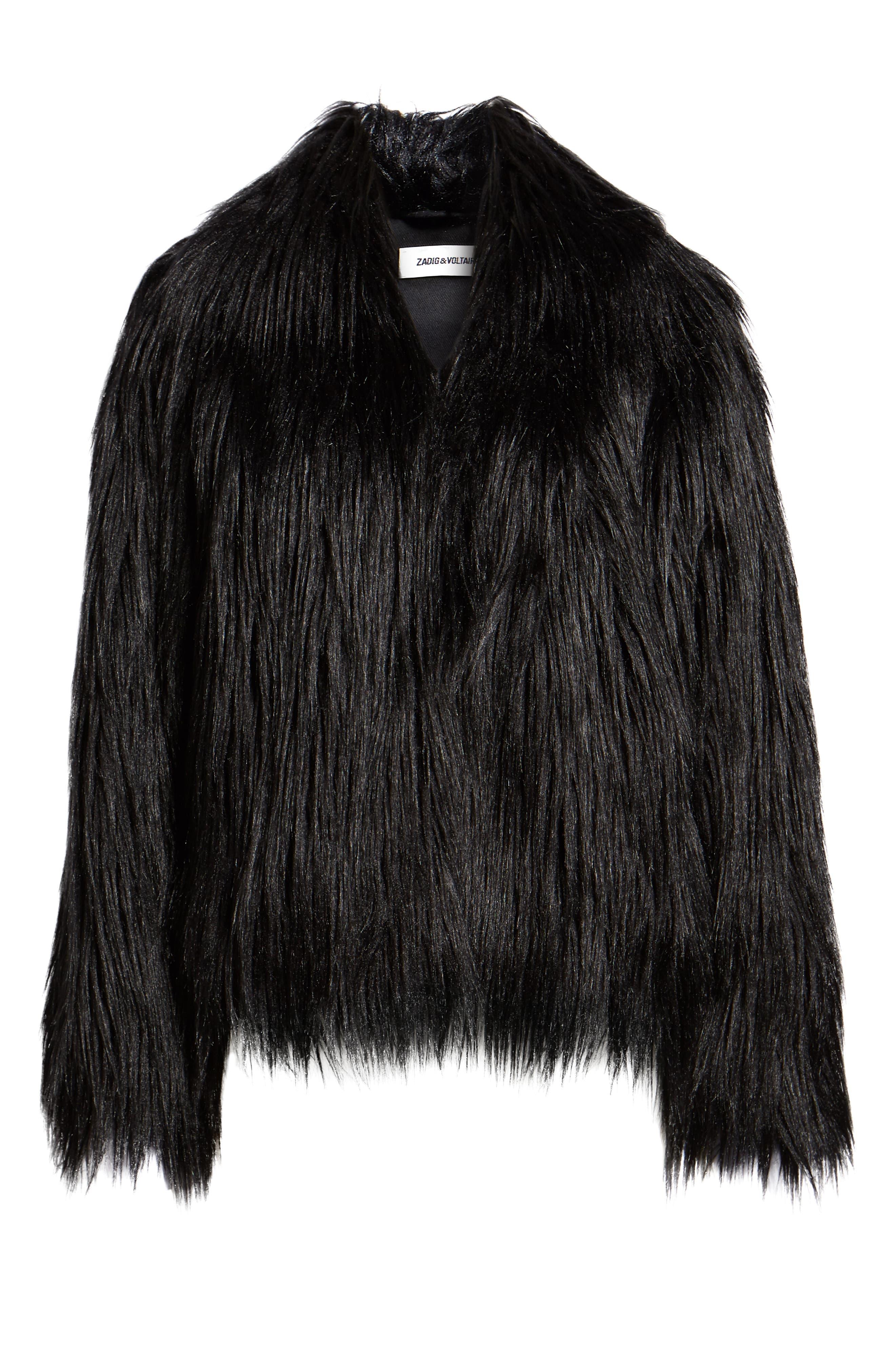 Fridas Faux Fur Coat,                             Alternate thumbnail 6, color,                             NOIR