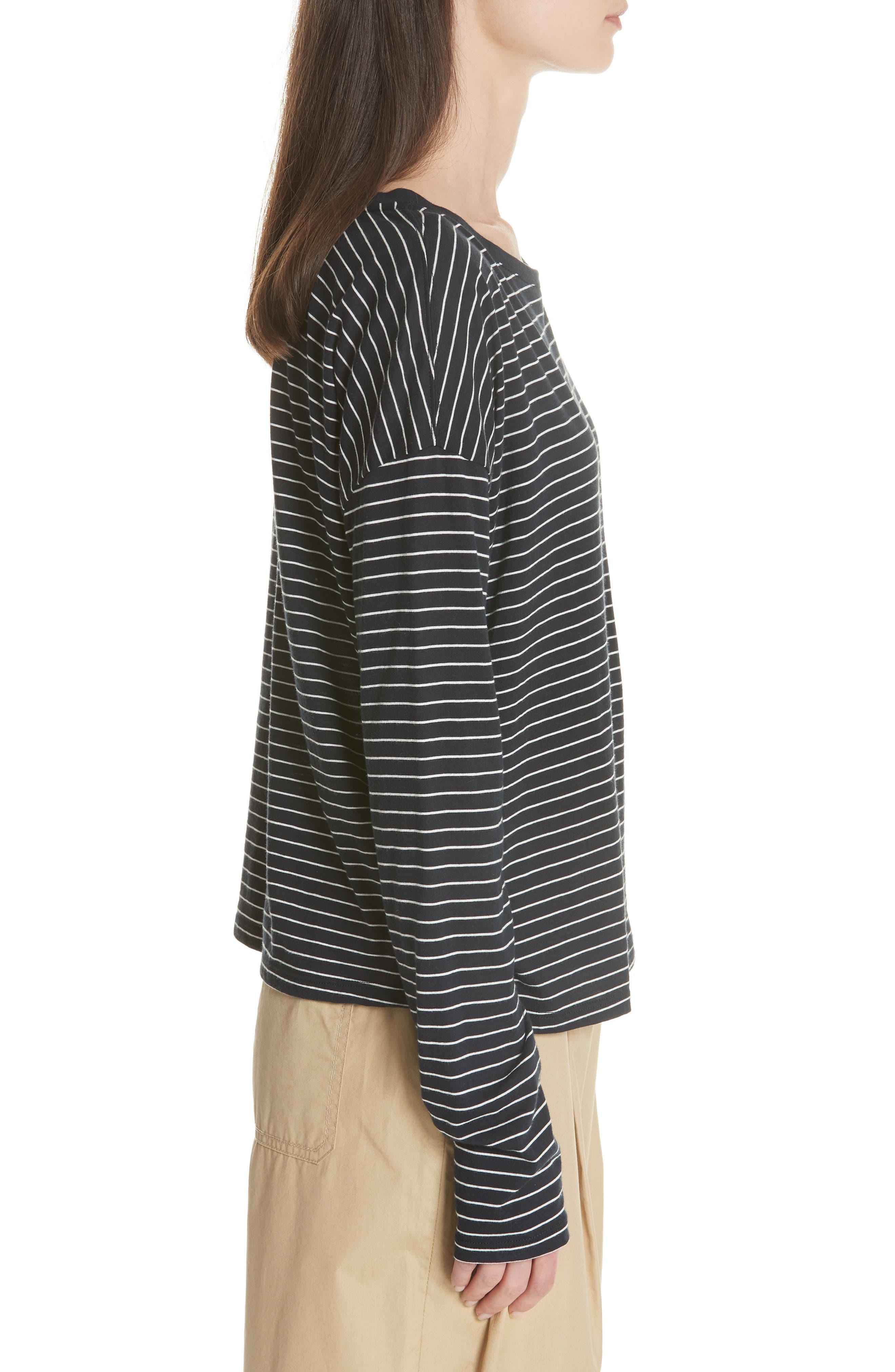 Pencil Stripe Pima Cotton Pullover Top,                             Alternate thumbnail 3, color,                             COASTAL/ VANILLA