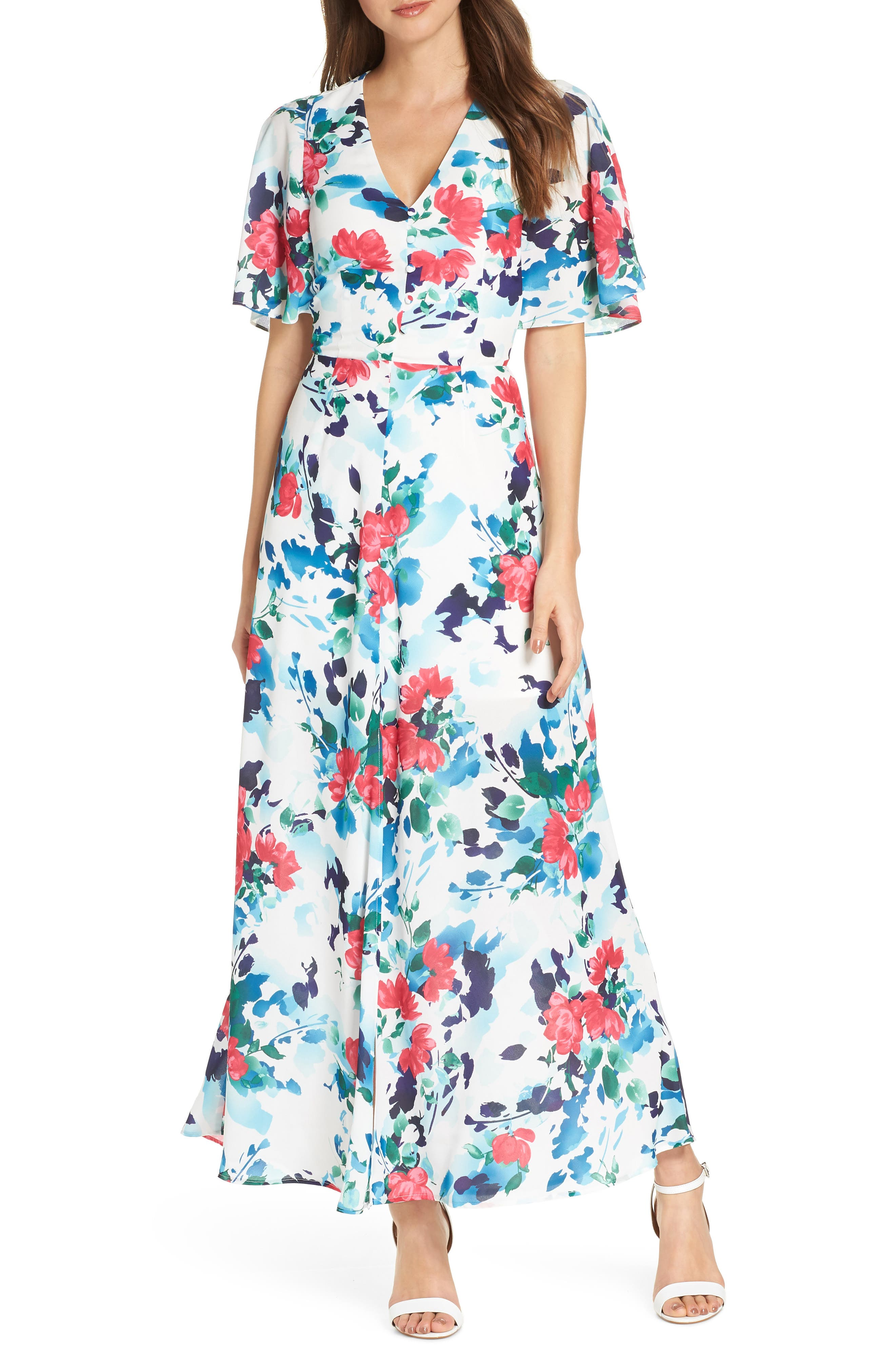 Adelyn Rae Somers Button Front Maxi Dress, White