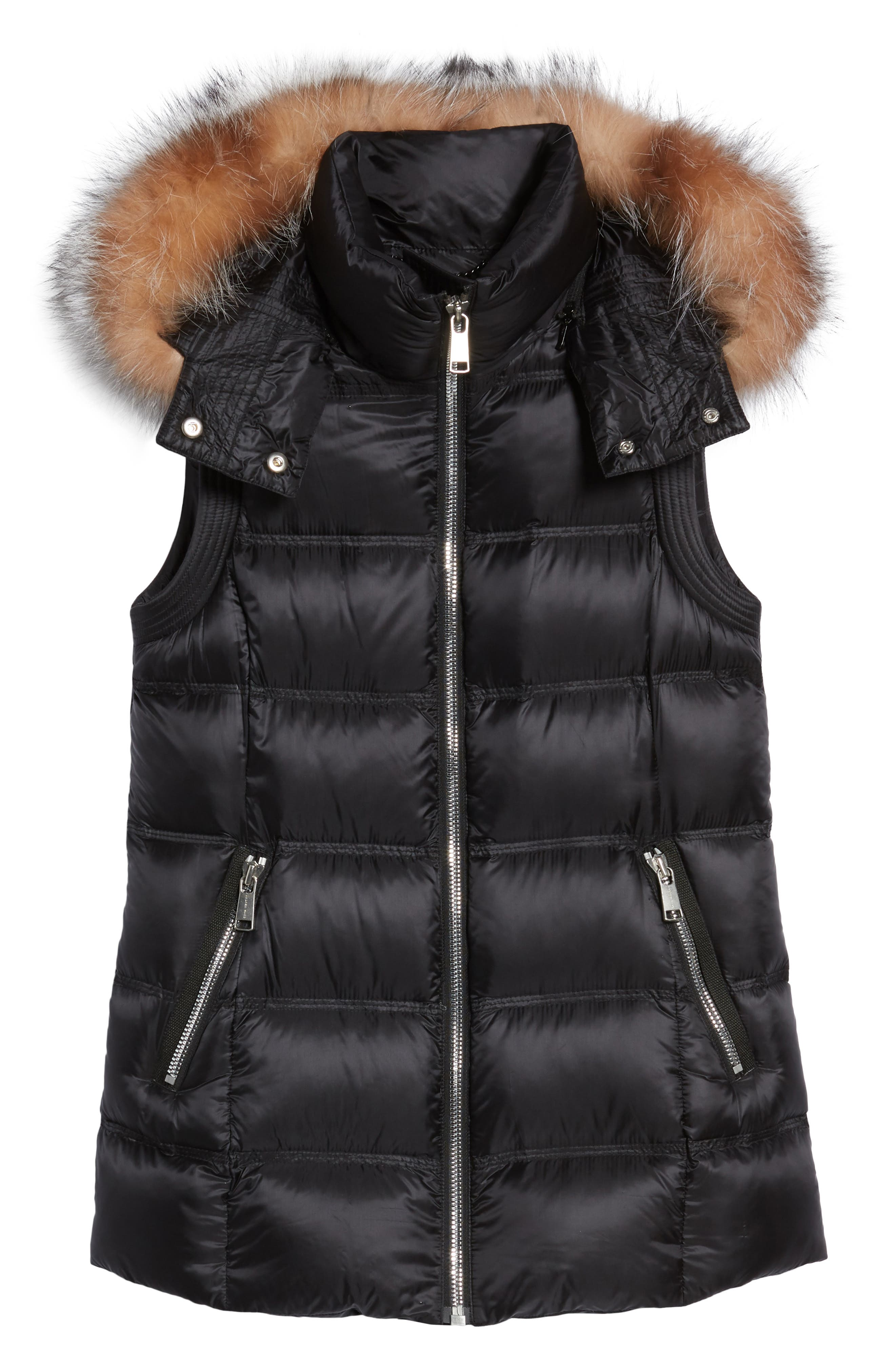 Claire 28 Water Resistant Hooded Down Vest with Genuine Fox Fur Trim,                             Alternate thumbnail 5, color,                             001