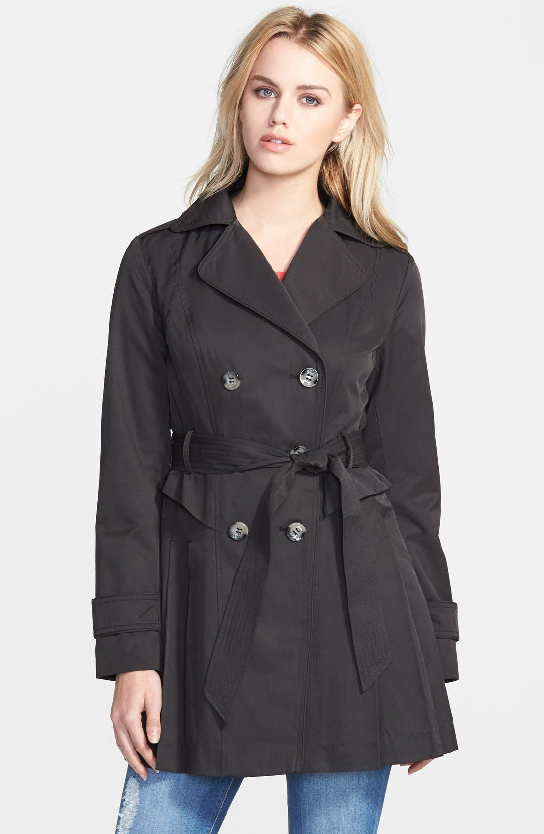 Double Breasted Skirted Trench Coat,                             Main thumbnail 1, color,                             001