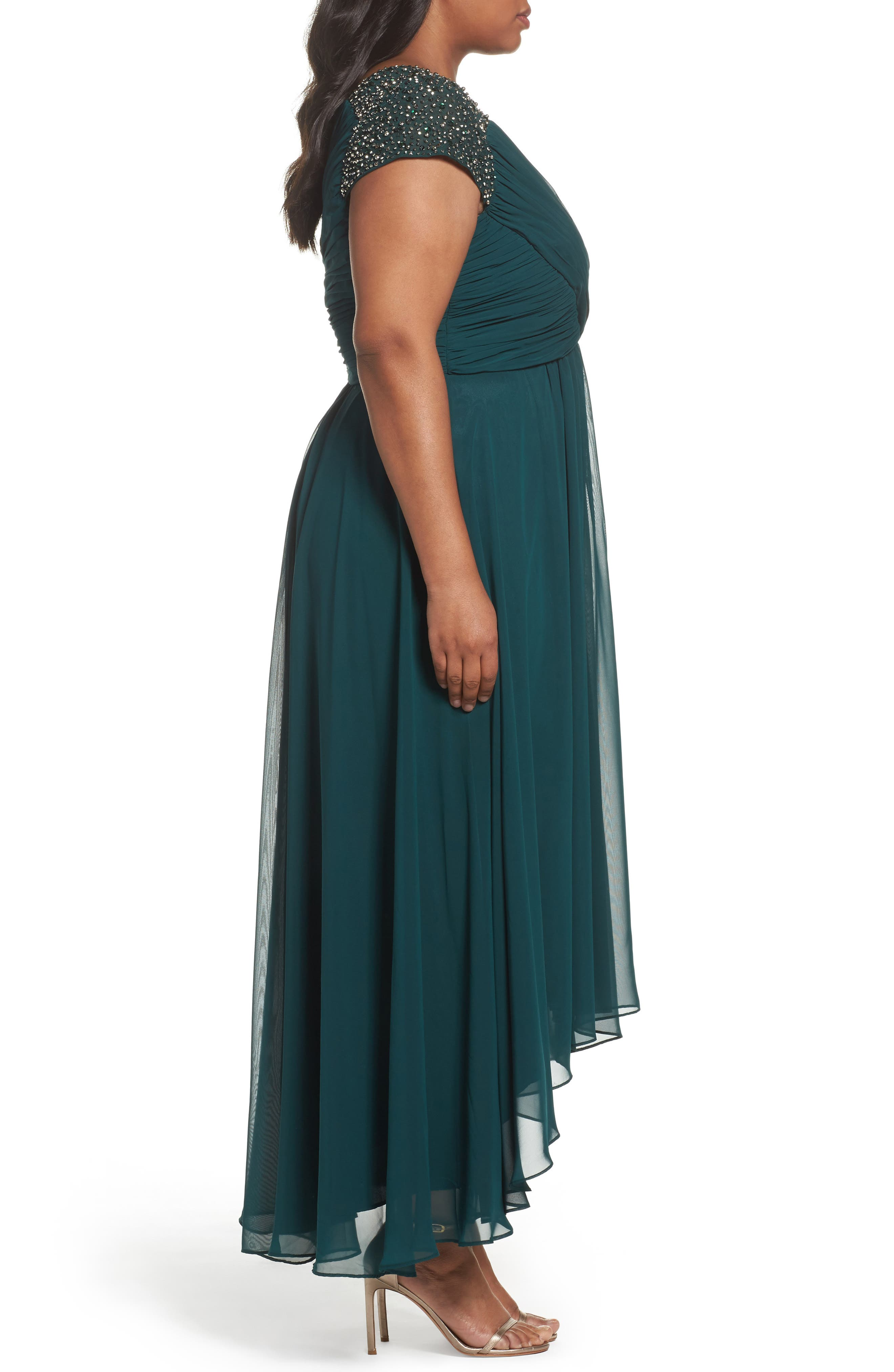 Embellished Pleated Chiffon Gown,                             Alternate thumbnail 3, color,                             311