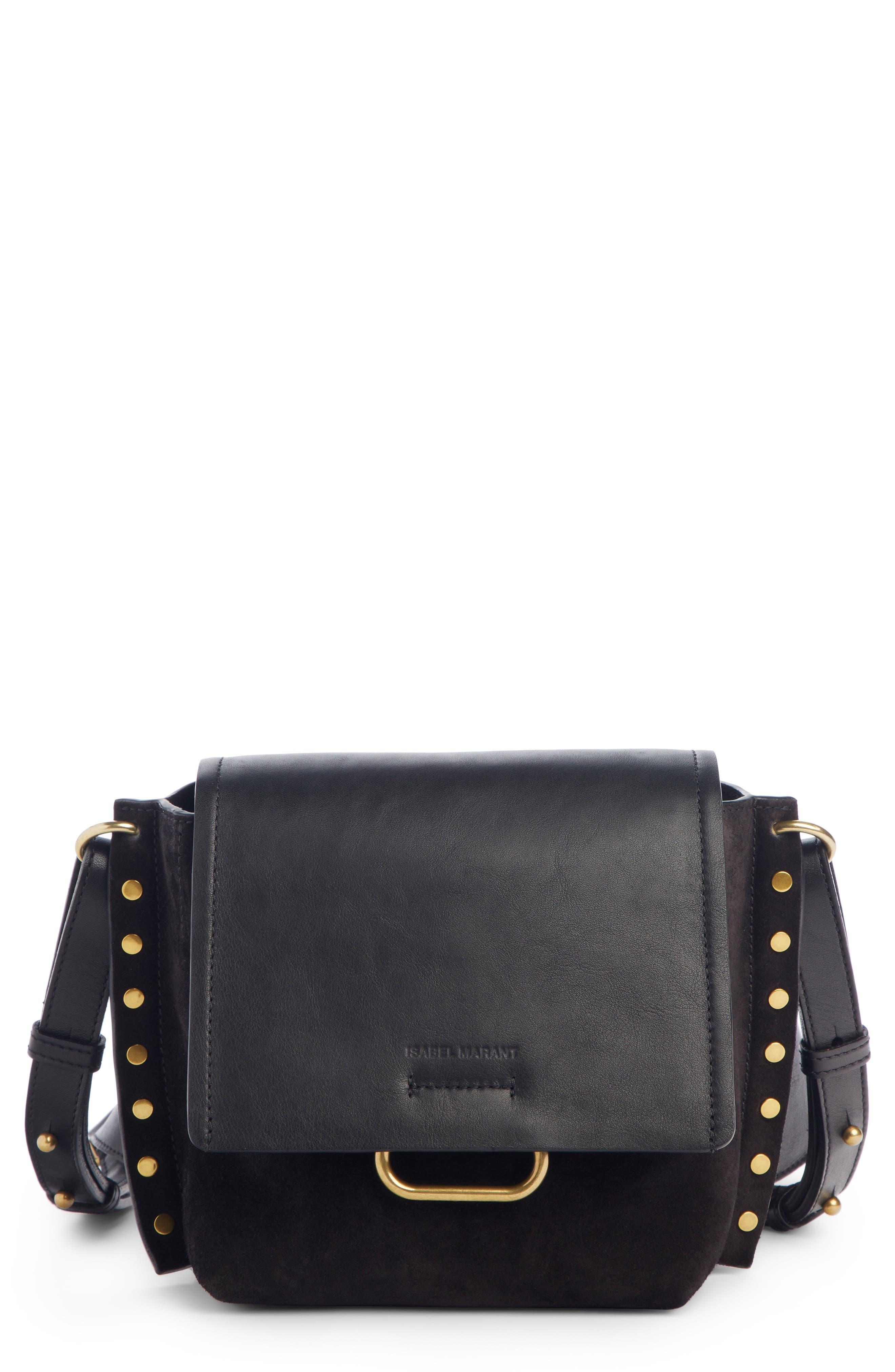 Kleny Leather Shoulder Bag,                             Main thumbnail 1, color,                             BLACK