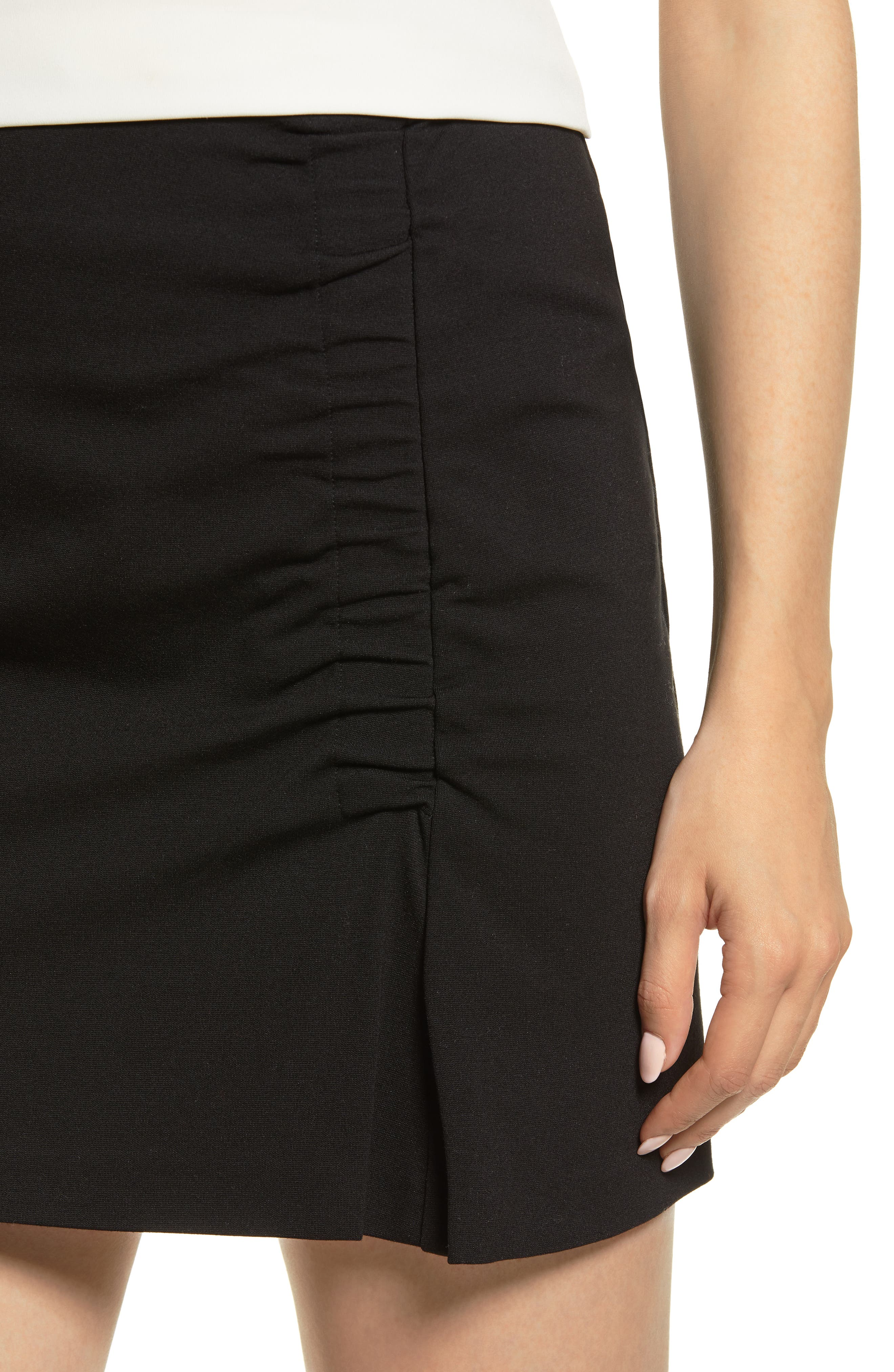 1.STATE,                             Ruched Detail Stretch Ponte Miniskirt,                             Alternate thumbnail 4, color,                             RICH BLACK
