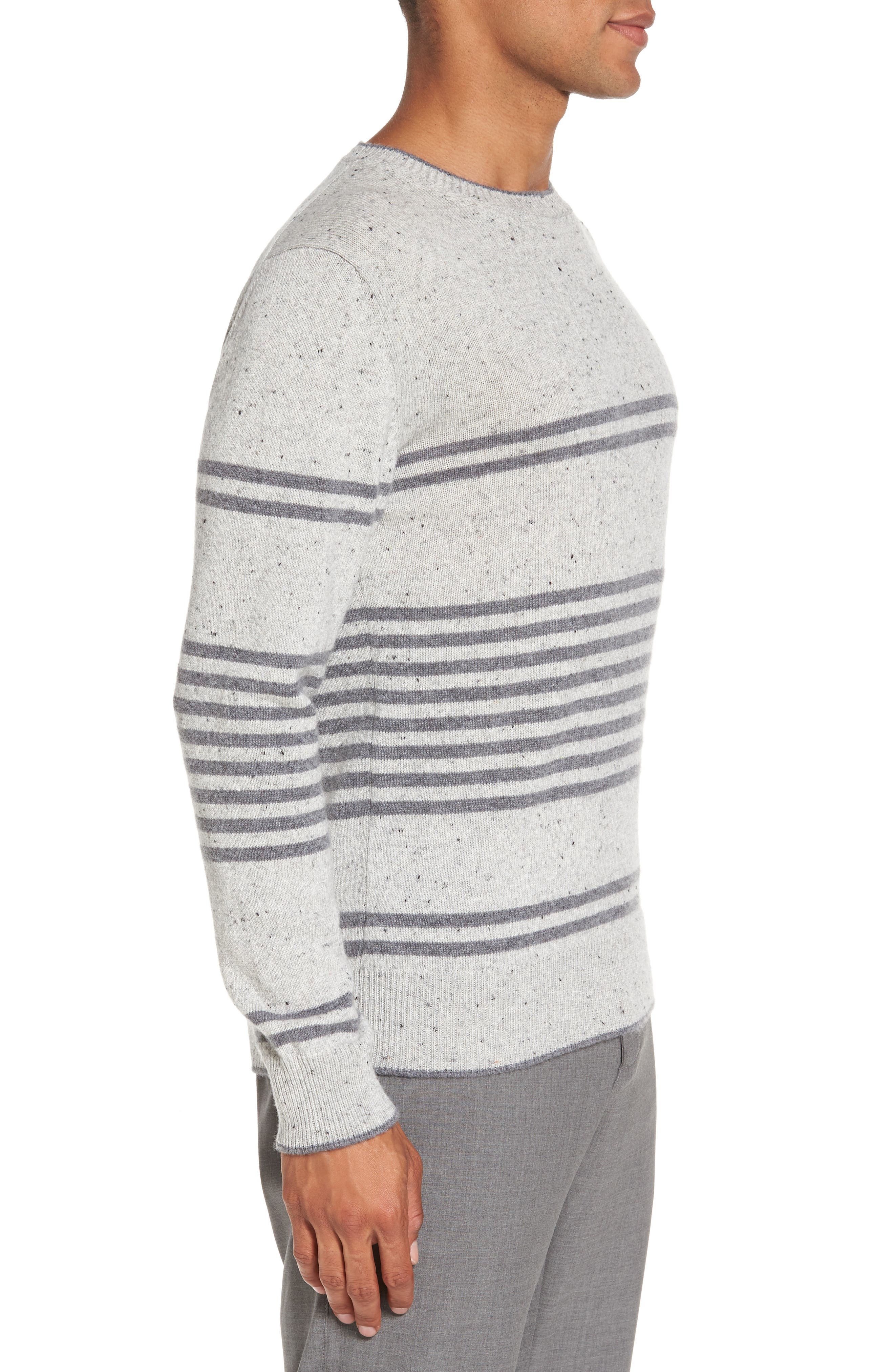Donegal Stripe Cashmere Sweater,                             Alternate thumbnail 3, color,                             020
