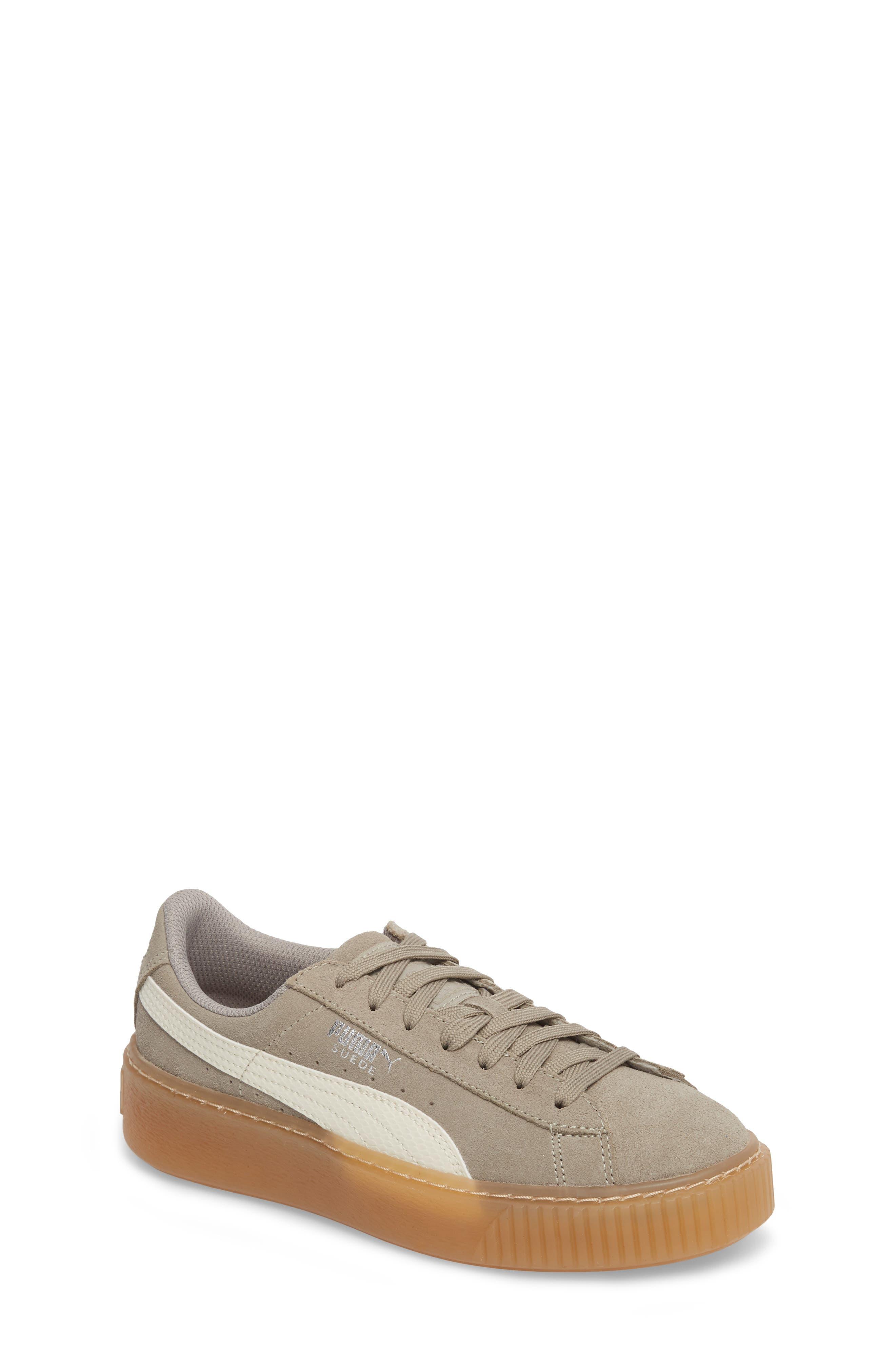 Suede Platform Jr Sneaker,                             Main thumbnail 1, color,                             060