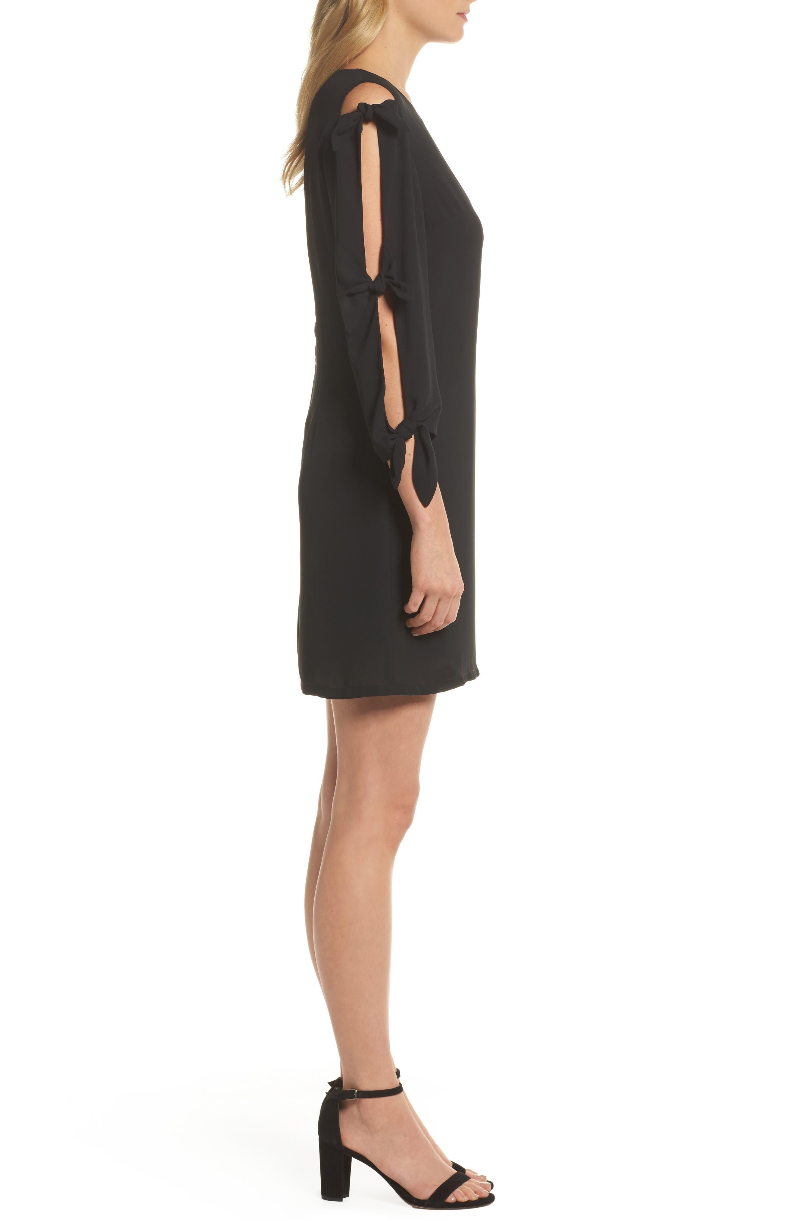 Bow Sleeve Shift Dress,                             Alternate thumbnail 3, color,                             BLACK