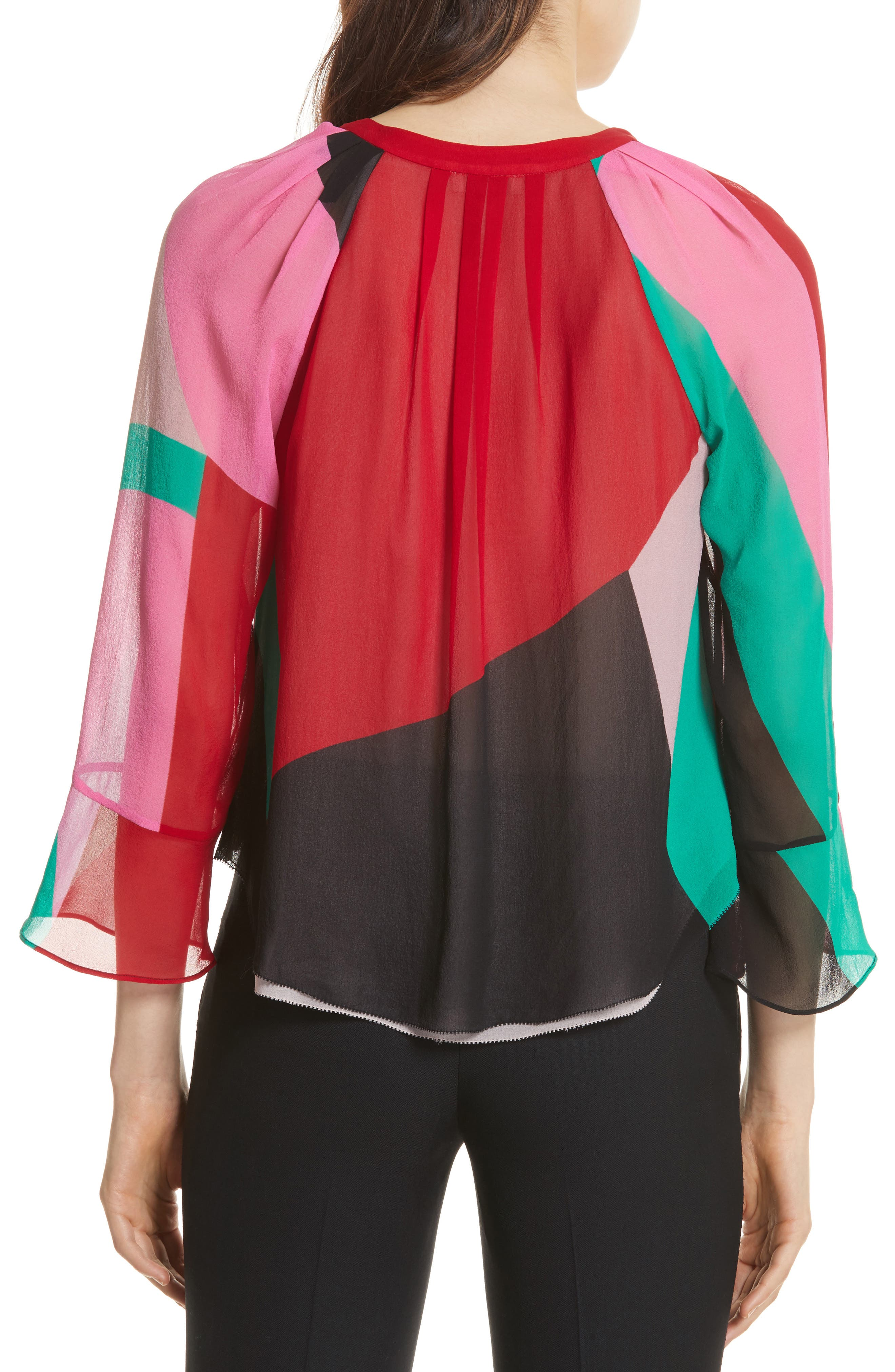 Quinlynn Colorblock Silk Top,                             Alternate thumbnail 2, color,