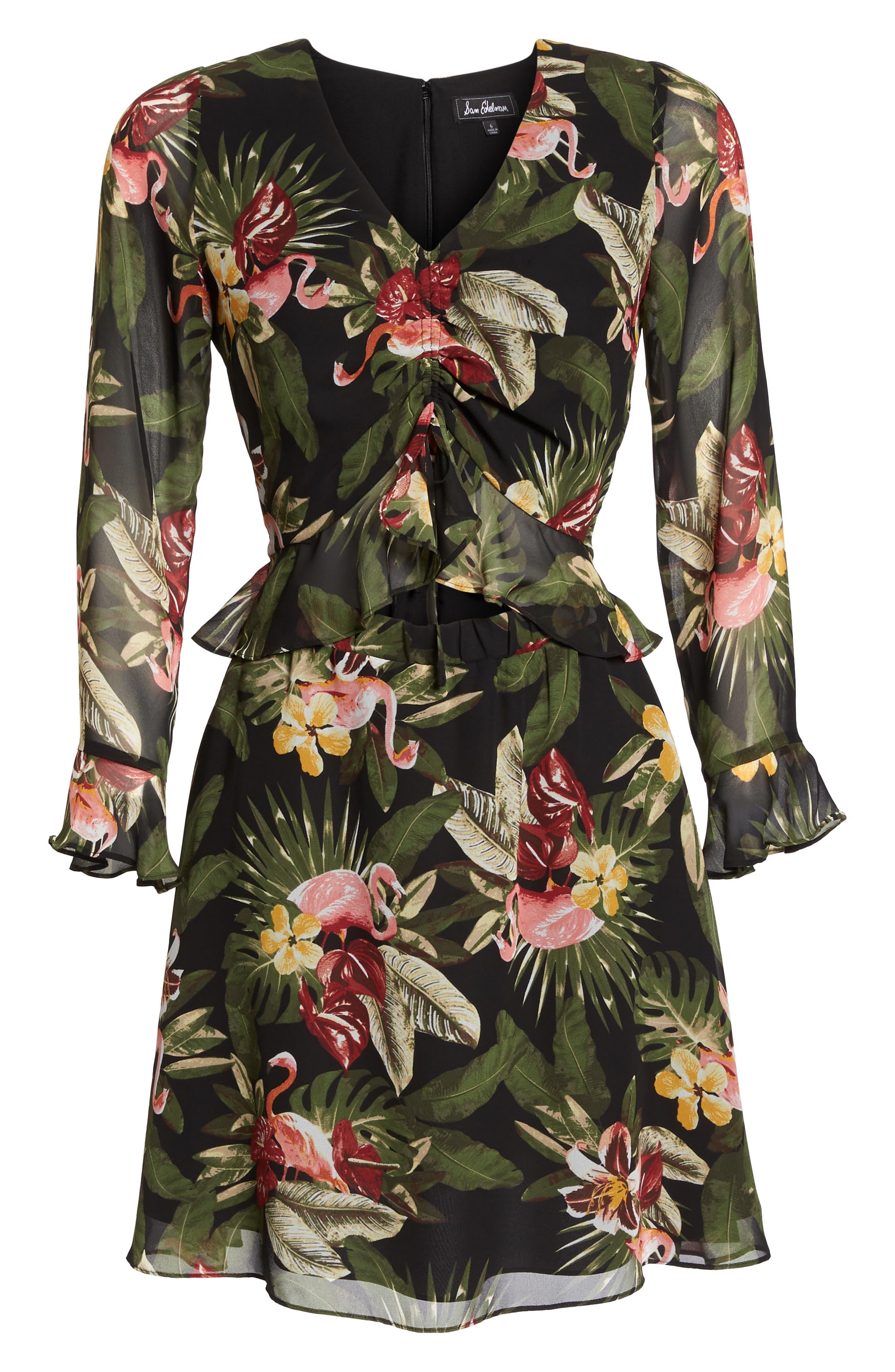 Waist Cutout Ruffle Dress,                             Alternate thumbnail 6, color,                             BLACK/ GREEN