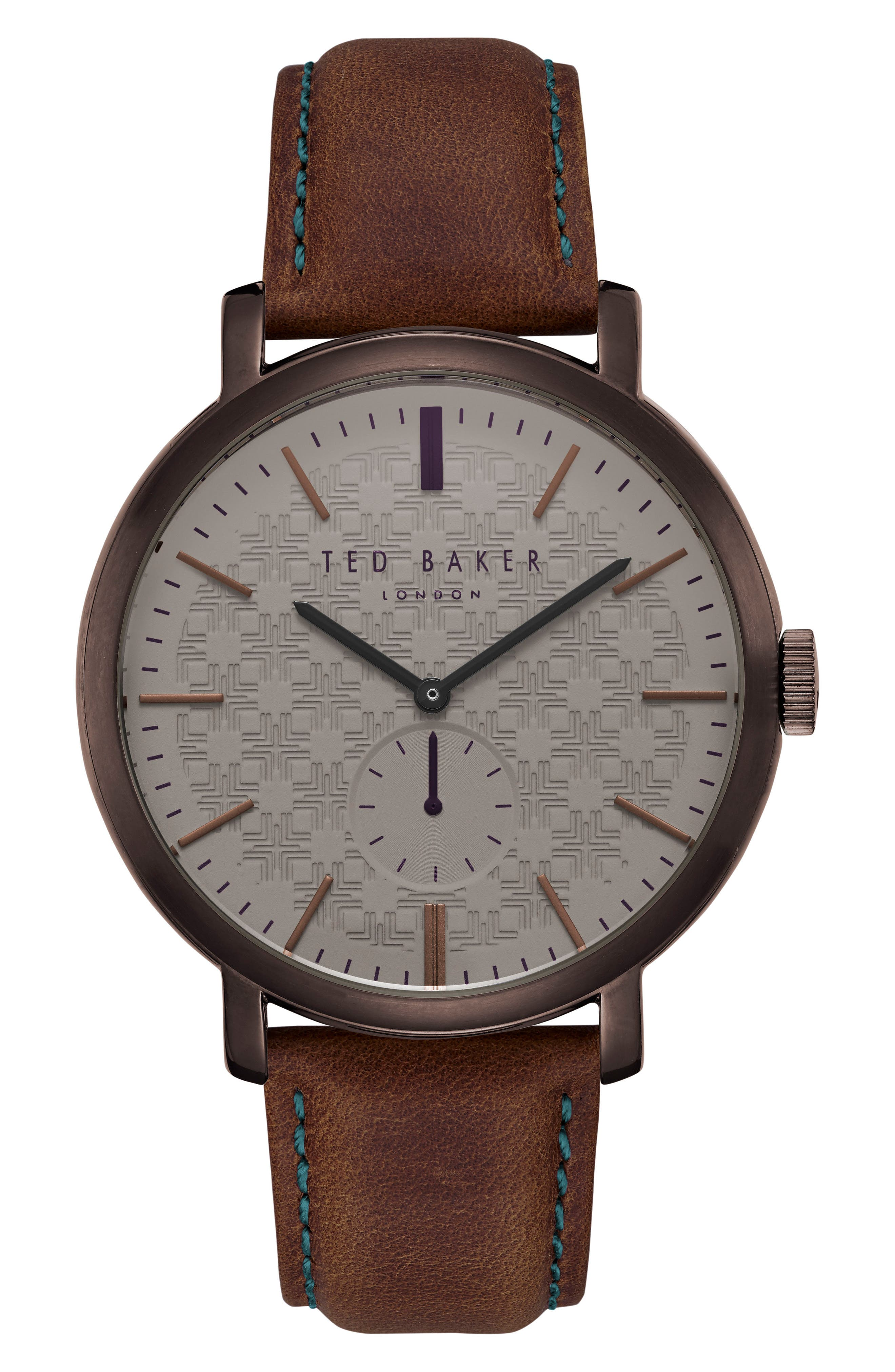 Trent Leather Strap Watch, 44mm,                             Main thumbnail 1, color,                             BROWN/ DARK BROWN