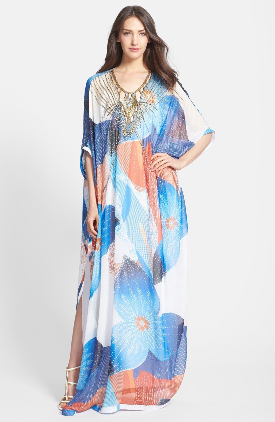 'Clare' Beaded Print Silk Blend Caftan,                         Main,                         color,
