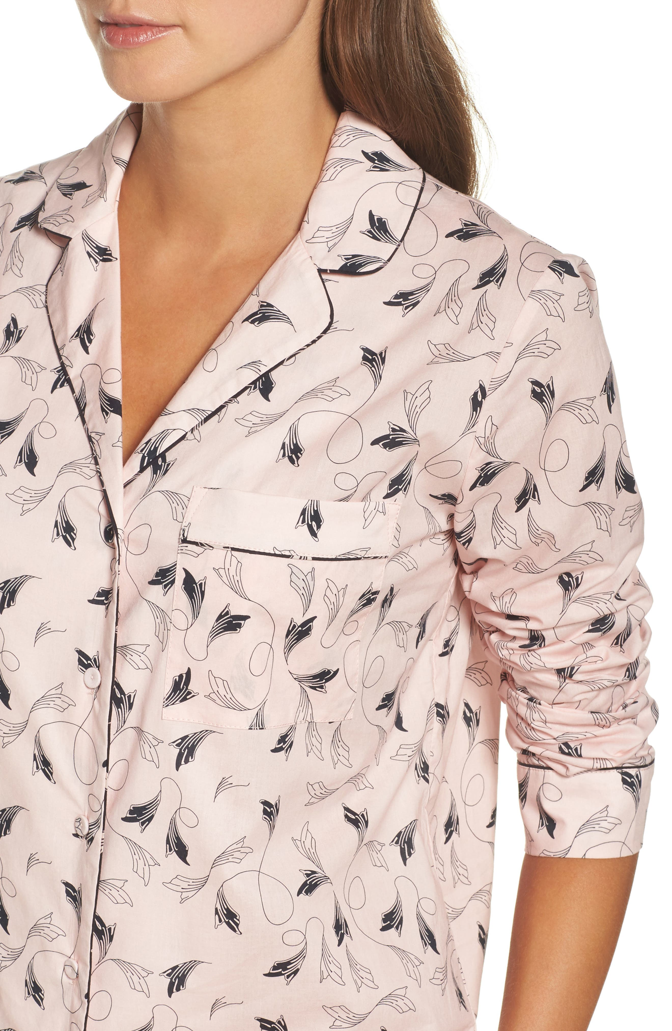 Classic Print Cotton Poplin Pajamas,                             Alternate thumbnail 4, color,