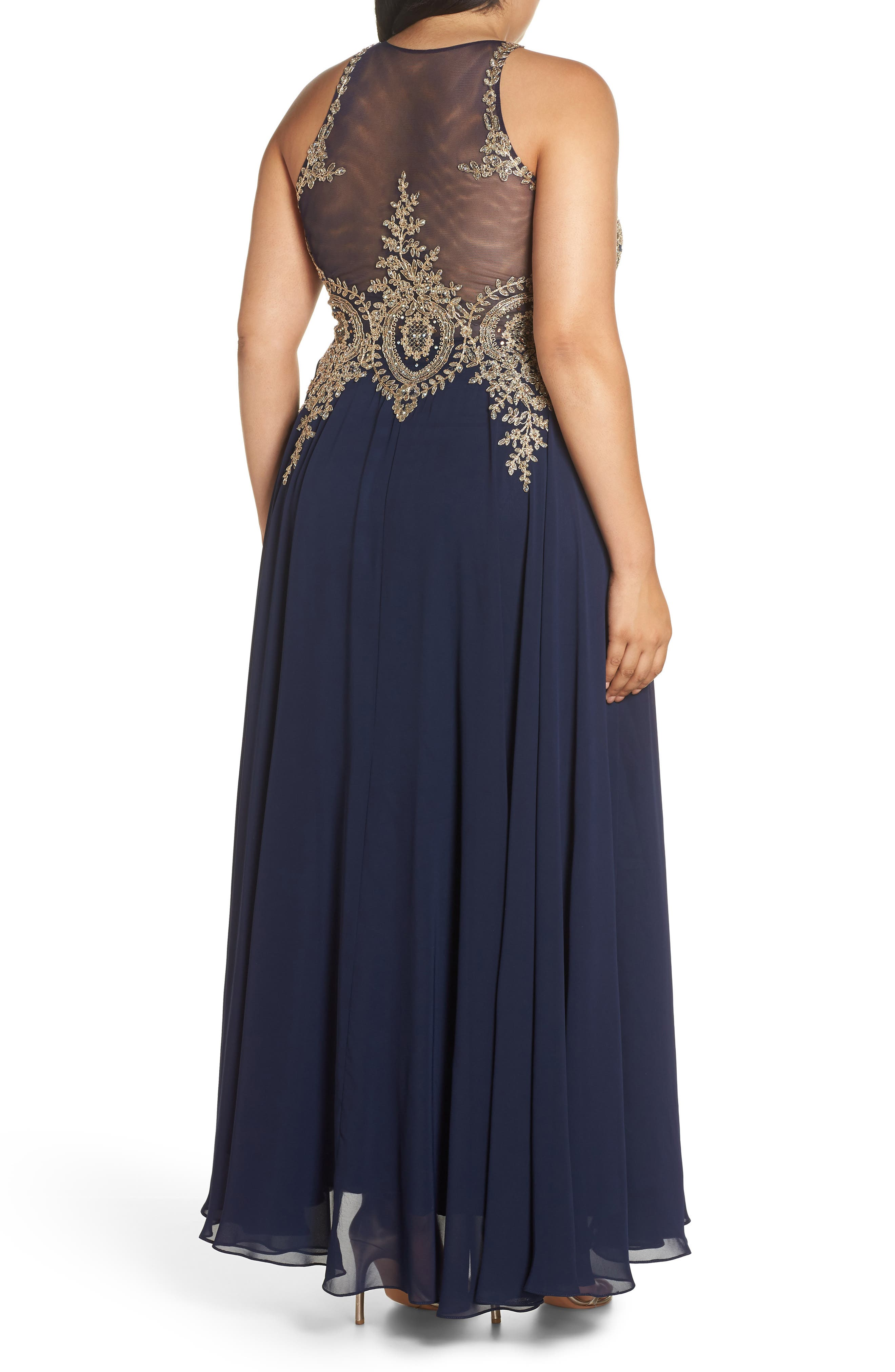 Metallic Embroidered Gown,                             Alternate thumbnail 2, color,                             NAVY/ GOLD