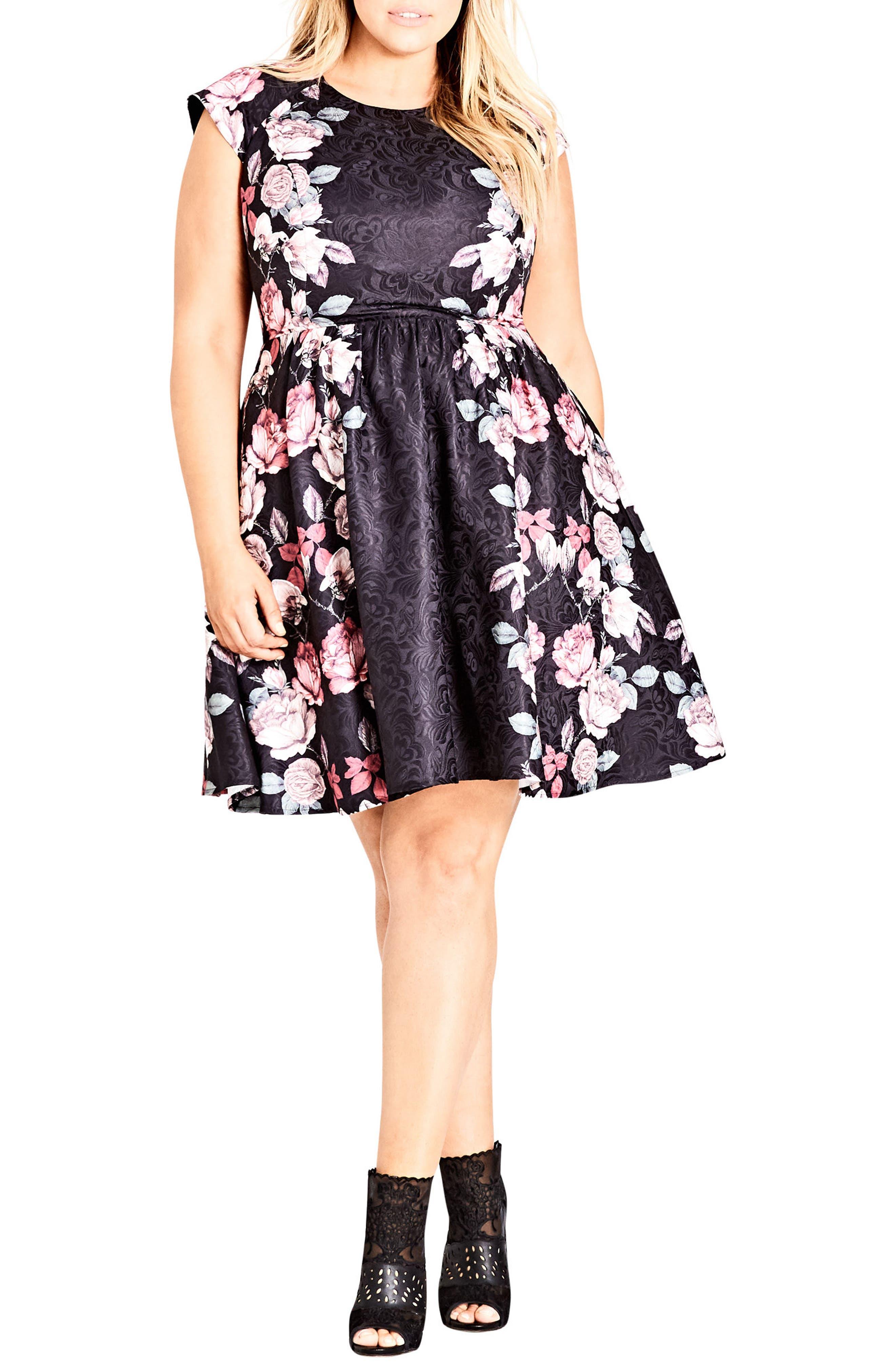 Rose Bloom Fit & Flare Dress,                             Alternate thumbnail 3, color,                             ROSE BLOSSOM