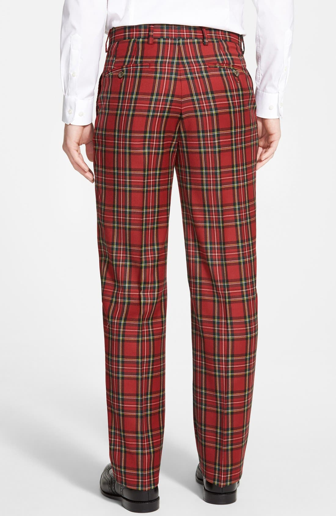 Flat Front Plaid Wool Trousers,                             Alternate thumbnail 3, color,                             RED