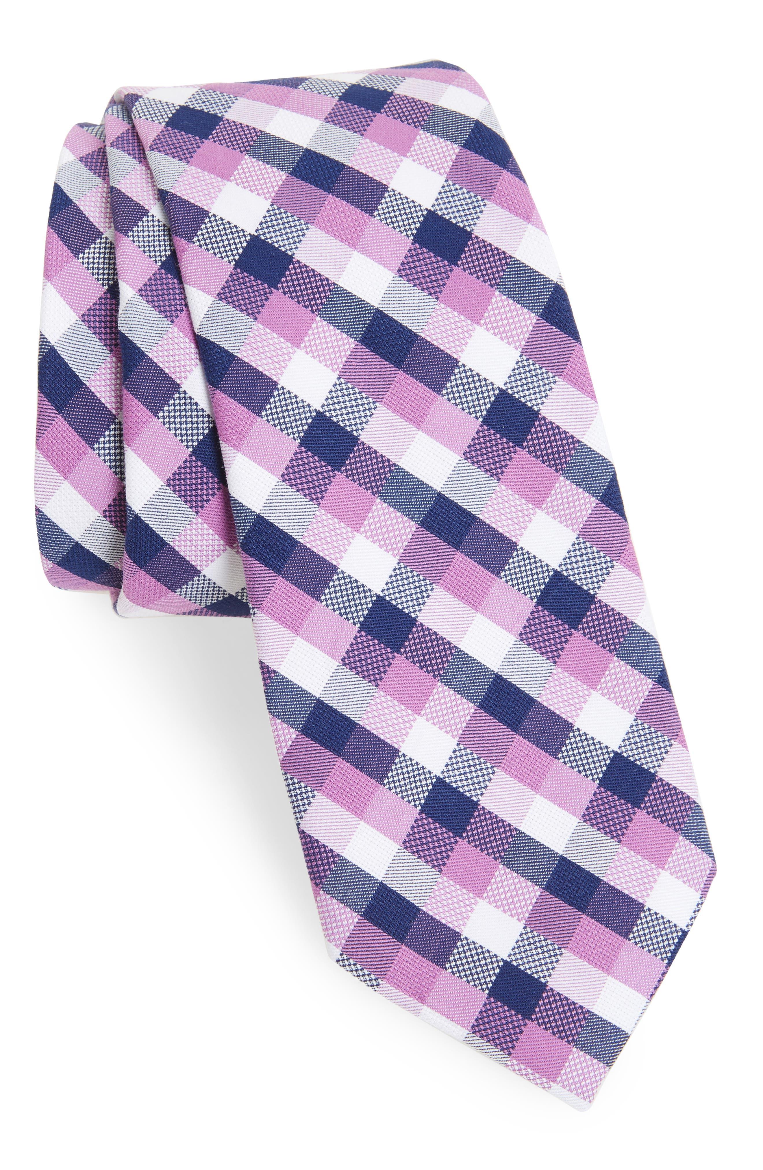 Scott Check Cotton Skinny Tie,                             Main thumbnail 5, color,