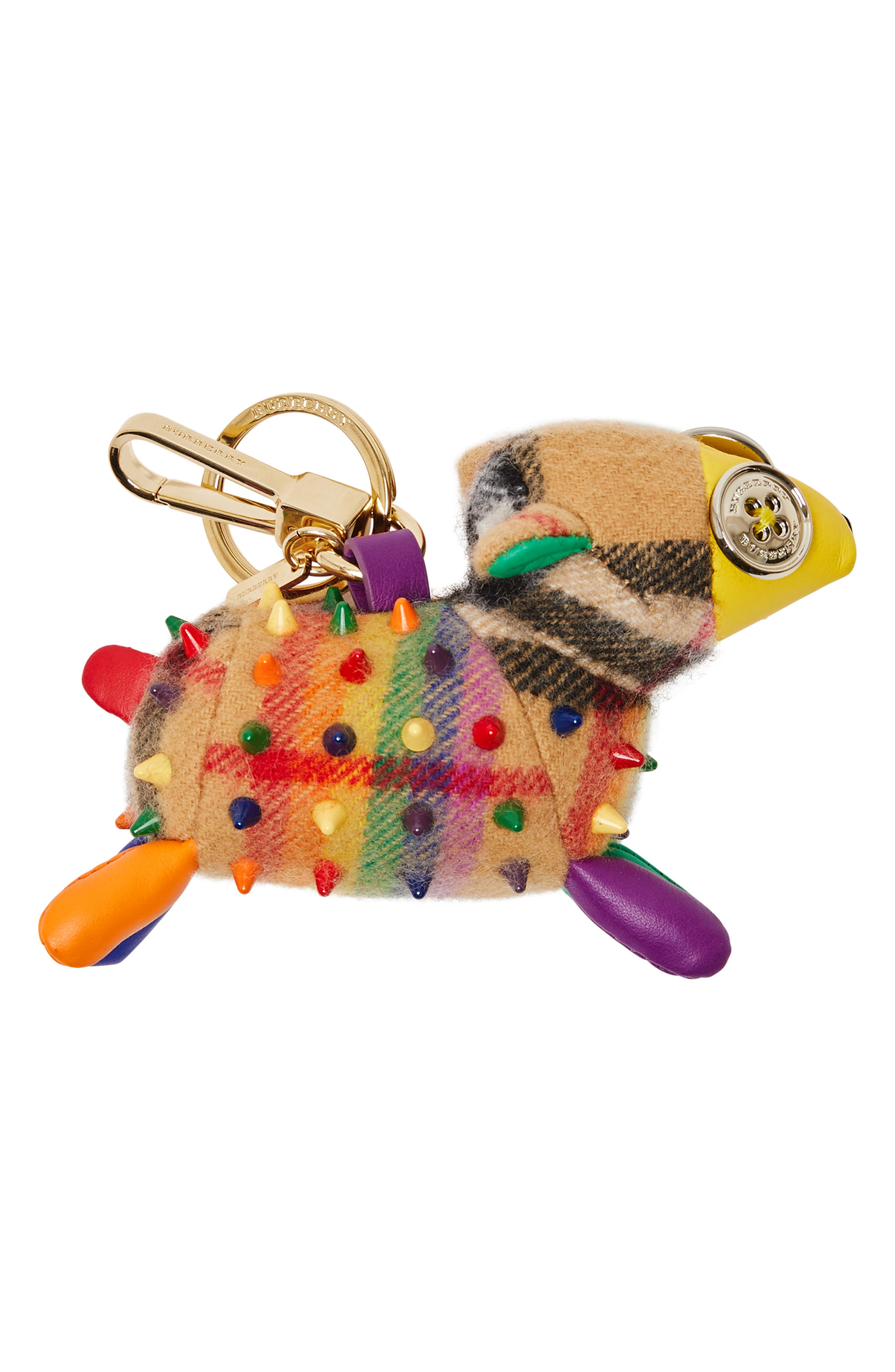 BURBERRY,                             Wendy the Sheep Rainbow Check Cashmere Bag Charm,                             Main thumbnail 1, color,                             250