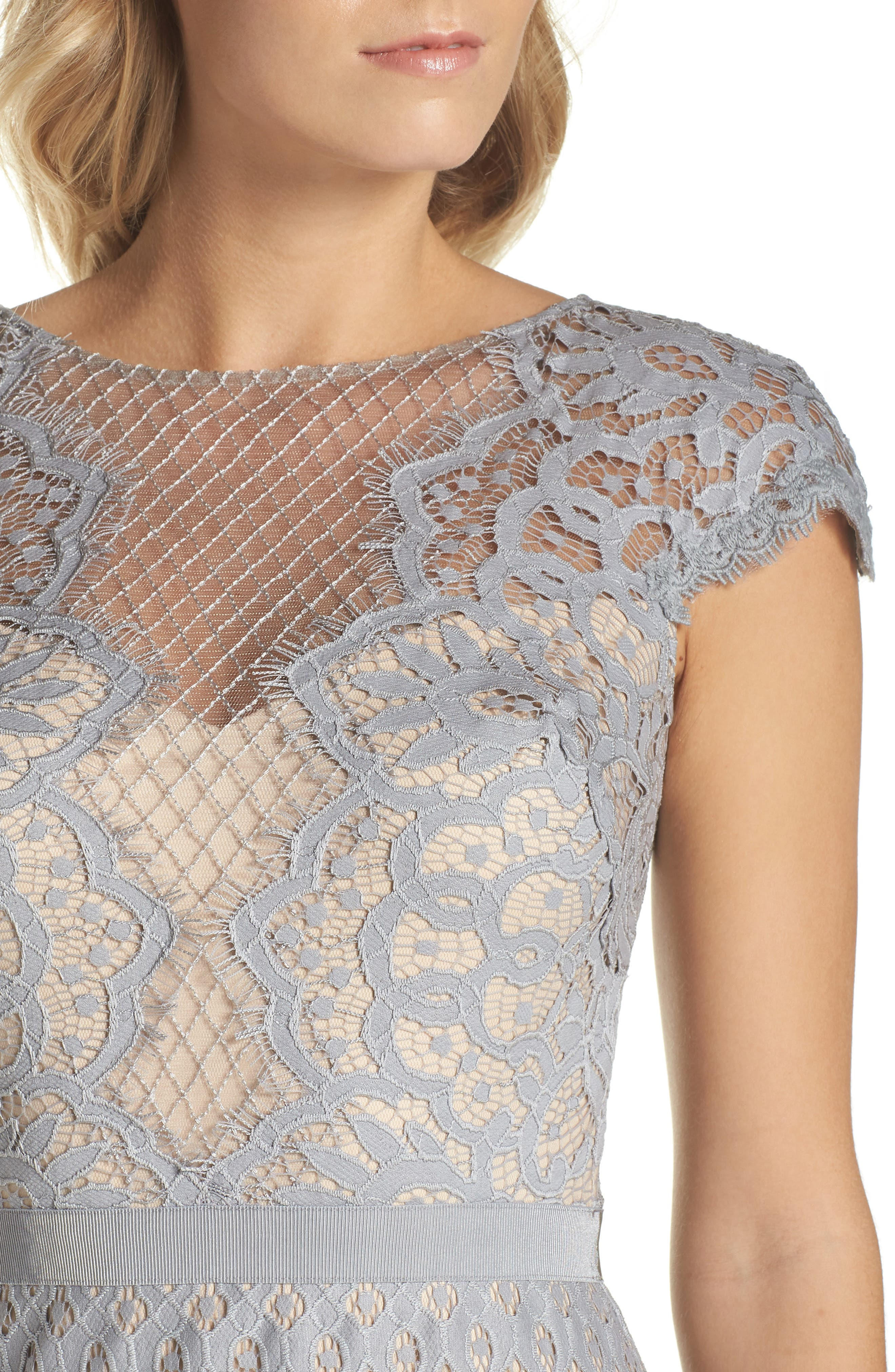 Lace Sheath Dress,                             Alternate thumbnail 4, color,                             PEWTER/ PETAL