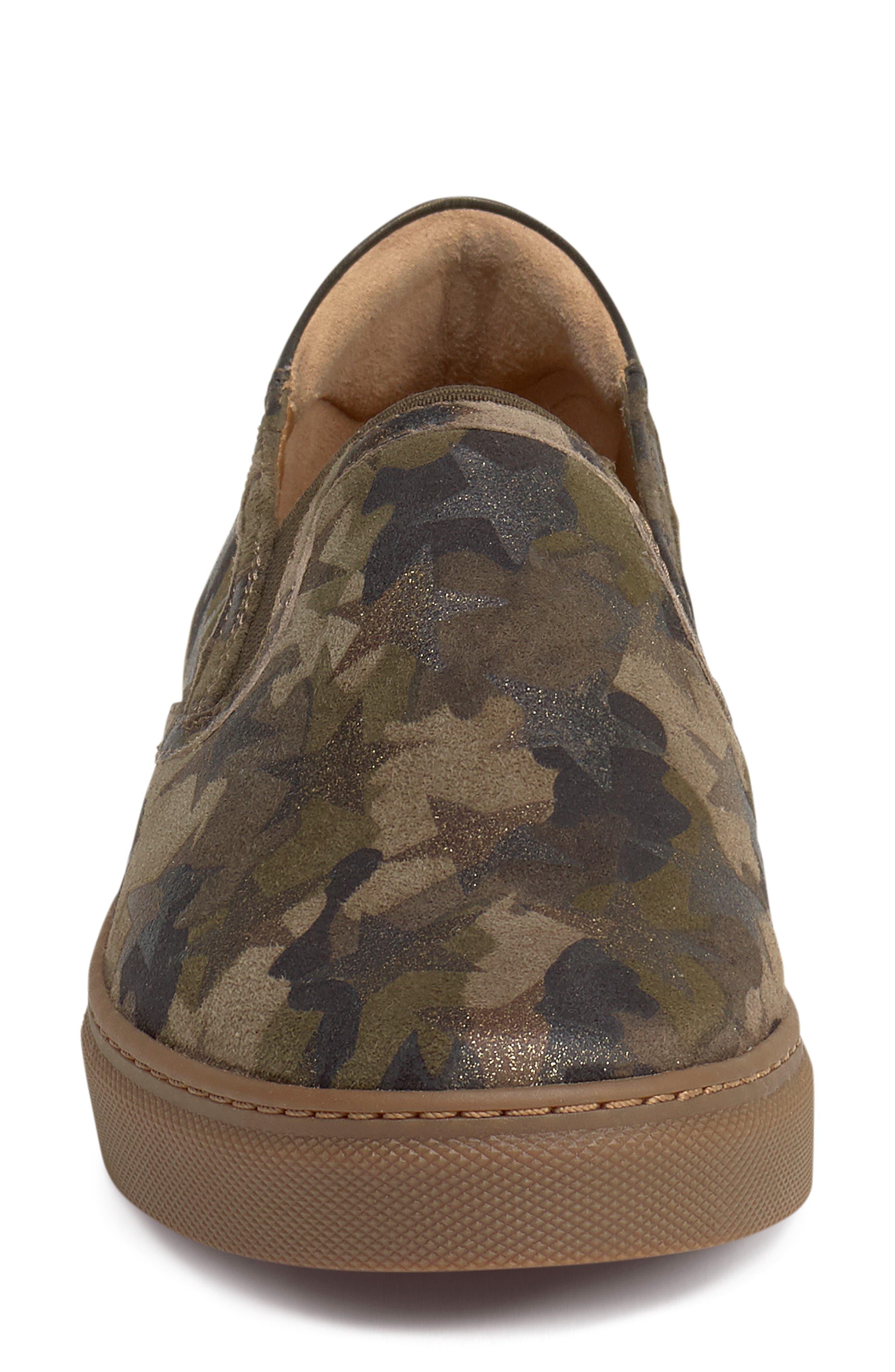 Lillian Water Resistant Slip-On Sneaker,                             Alternate thumbnail 4, color,                             OLIVE STAR PRINT SUEDE