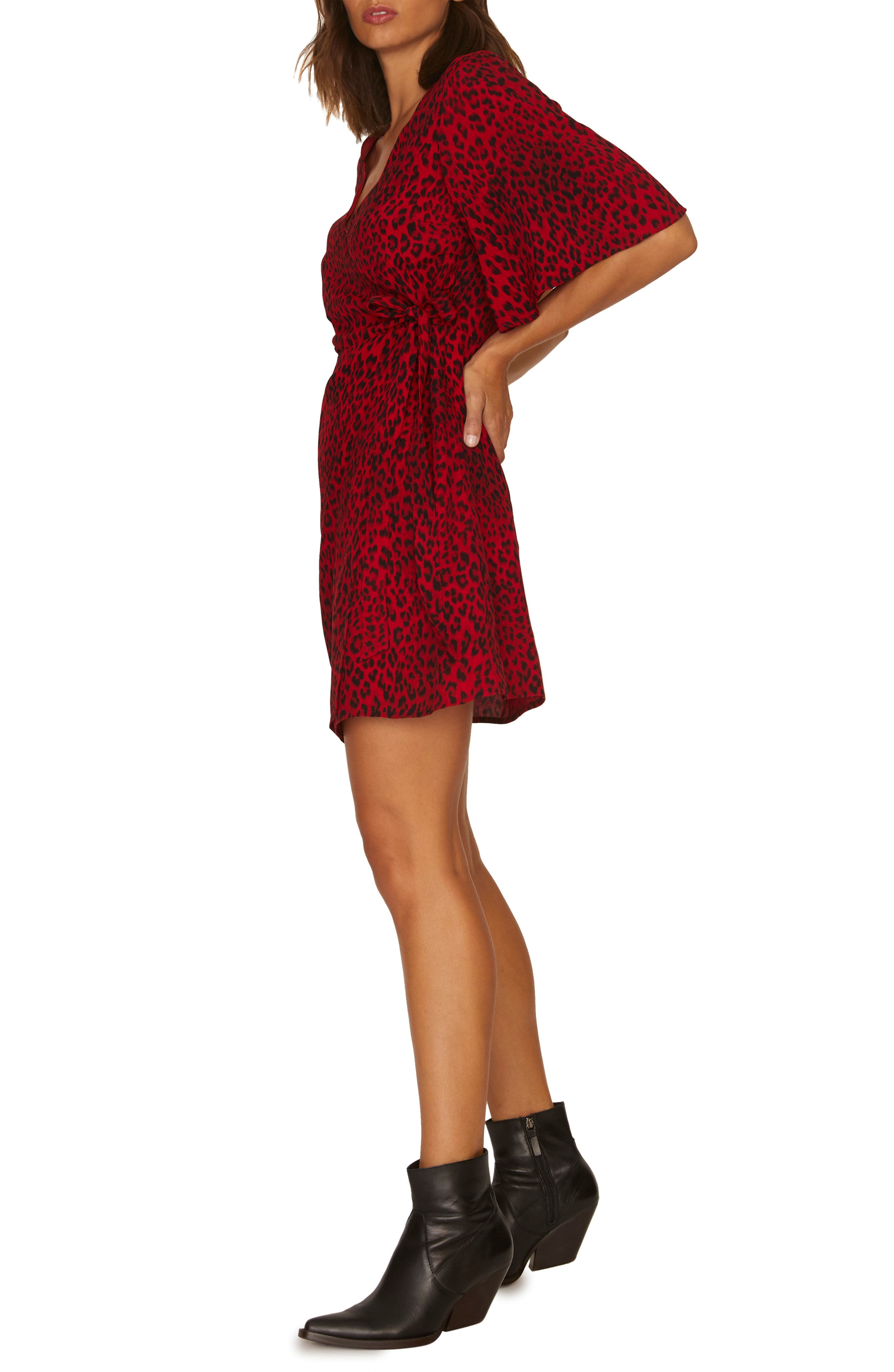 Girl on Fire Leopard Faux Wrap Dress,                             Alternate thumbnail 4, color,                             RED LEOPARD
