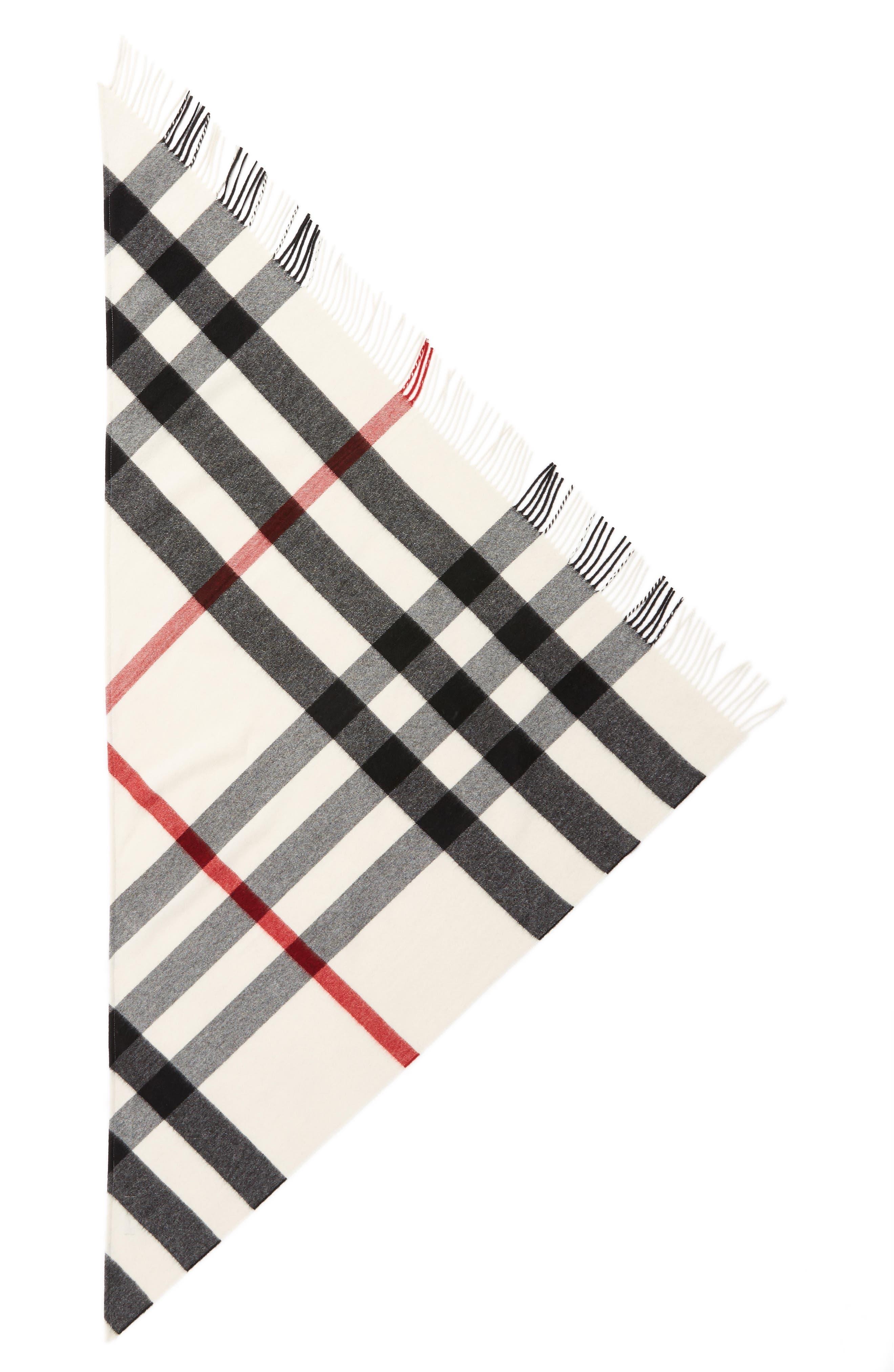 Mega Check Cashmere Scarf,                             Main thumbnail 1, color,                             NATURAL WHITE