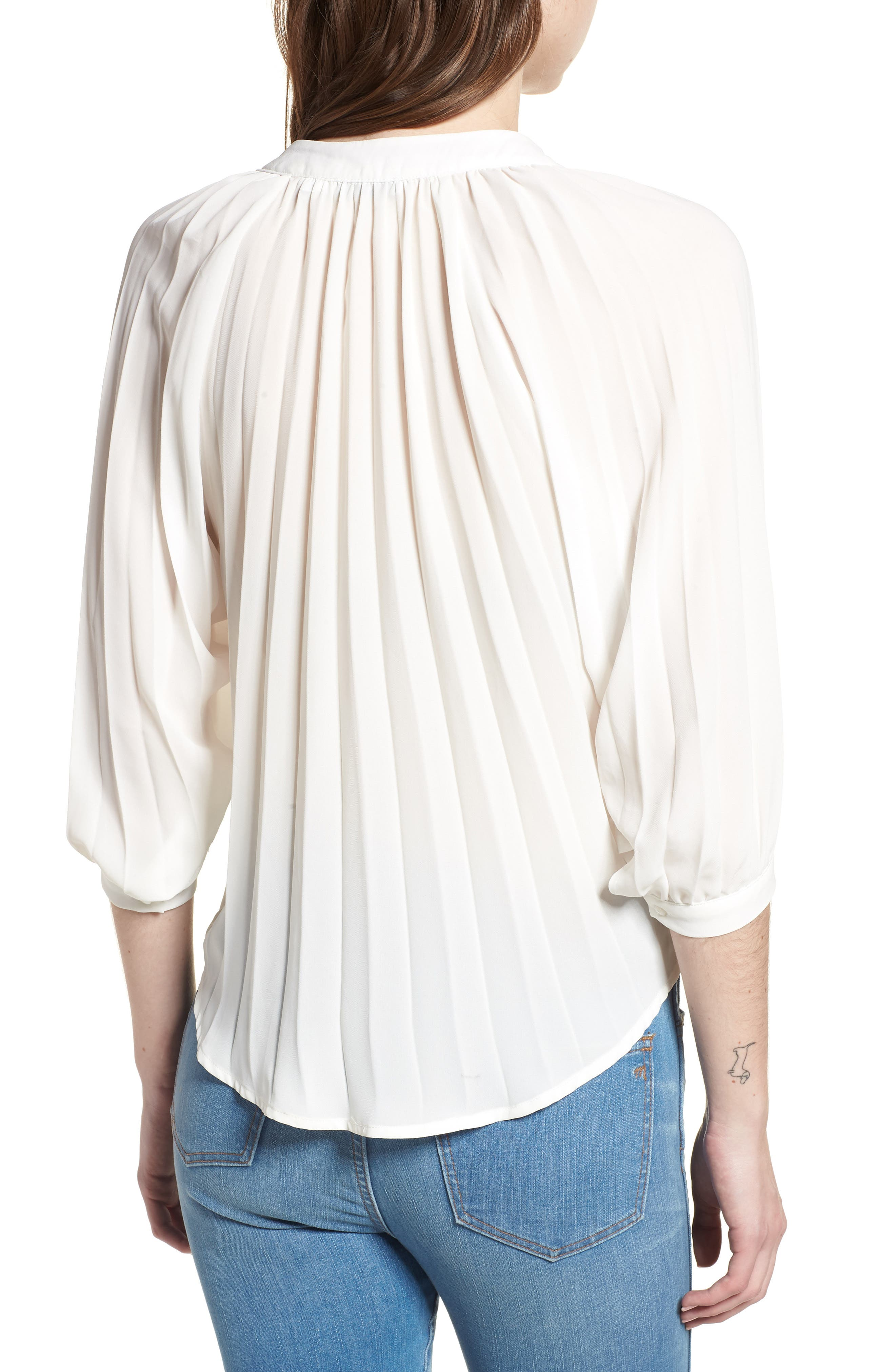 Bishop + Young Pleated Top,                             Alternate thumbnail 2, color,                             WHITE