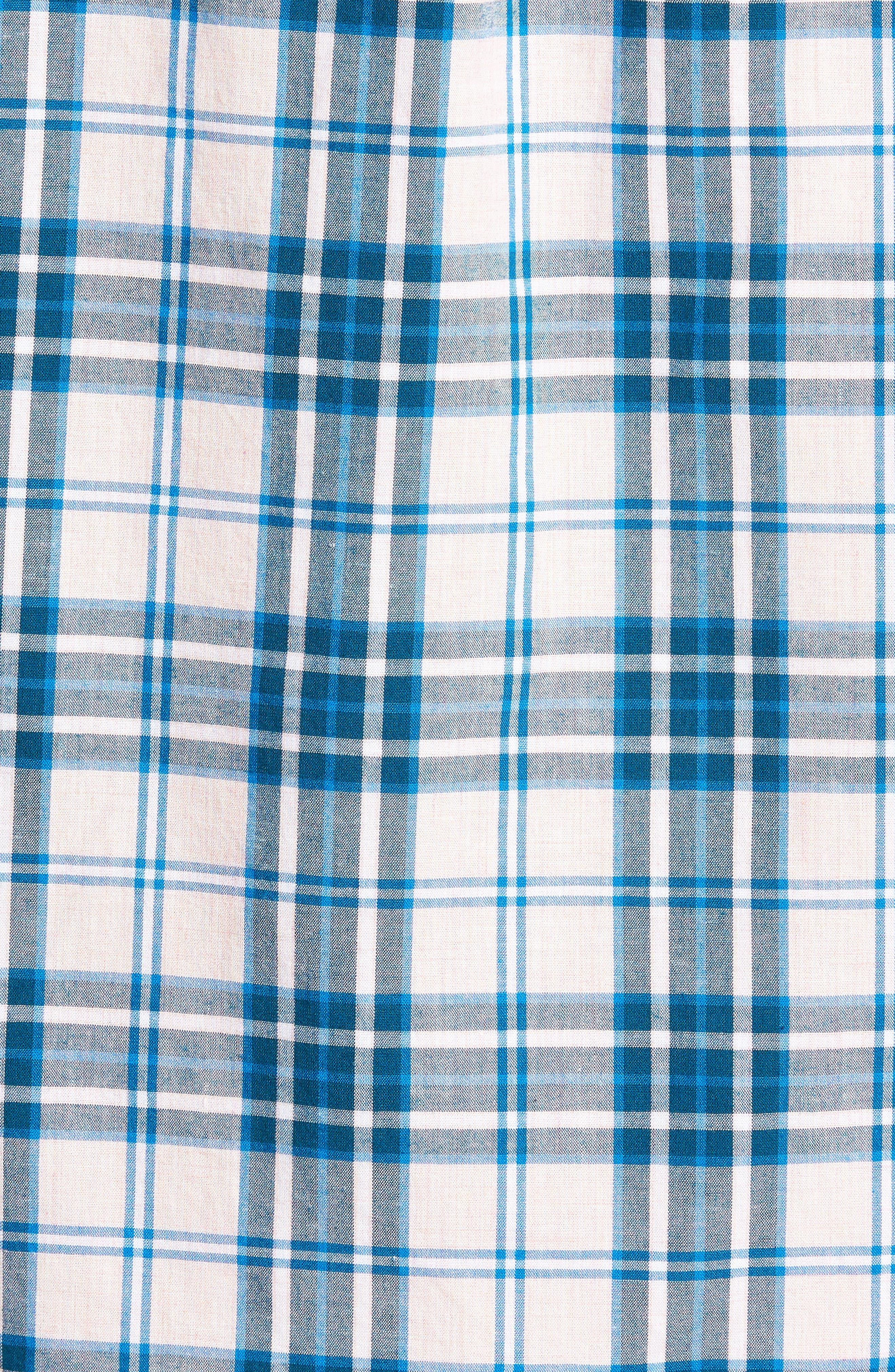 Slim Fit Stretch Secret Wash Heather Poplin Plaid Sport Shirt,                             Alternate thumbnail 5, color,