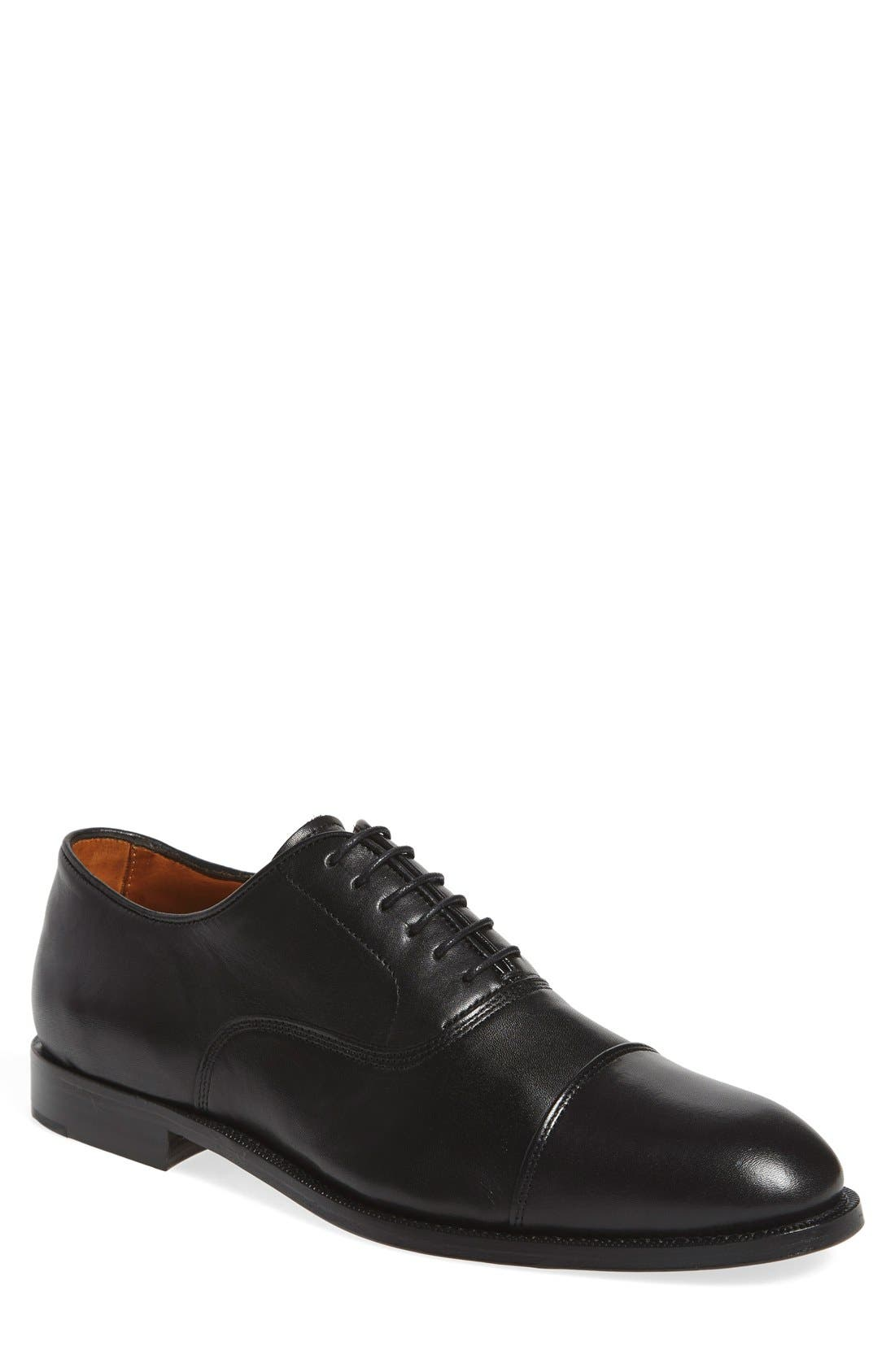 'Eeric' Cap Toe Oxford,                             Main thumbnail 1, color,                             BLACK LEATHER