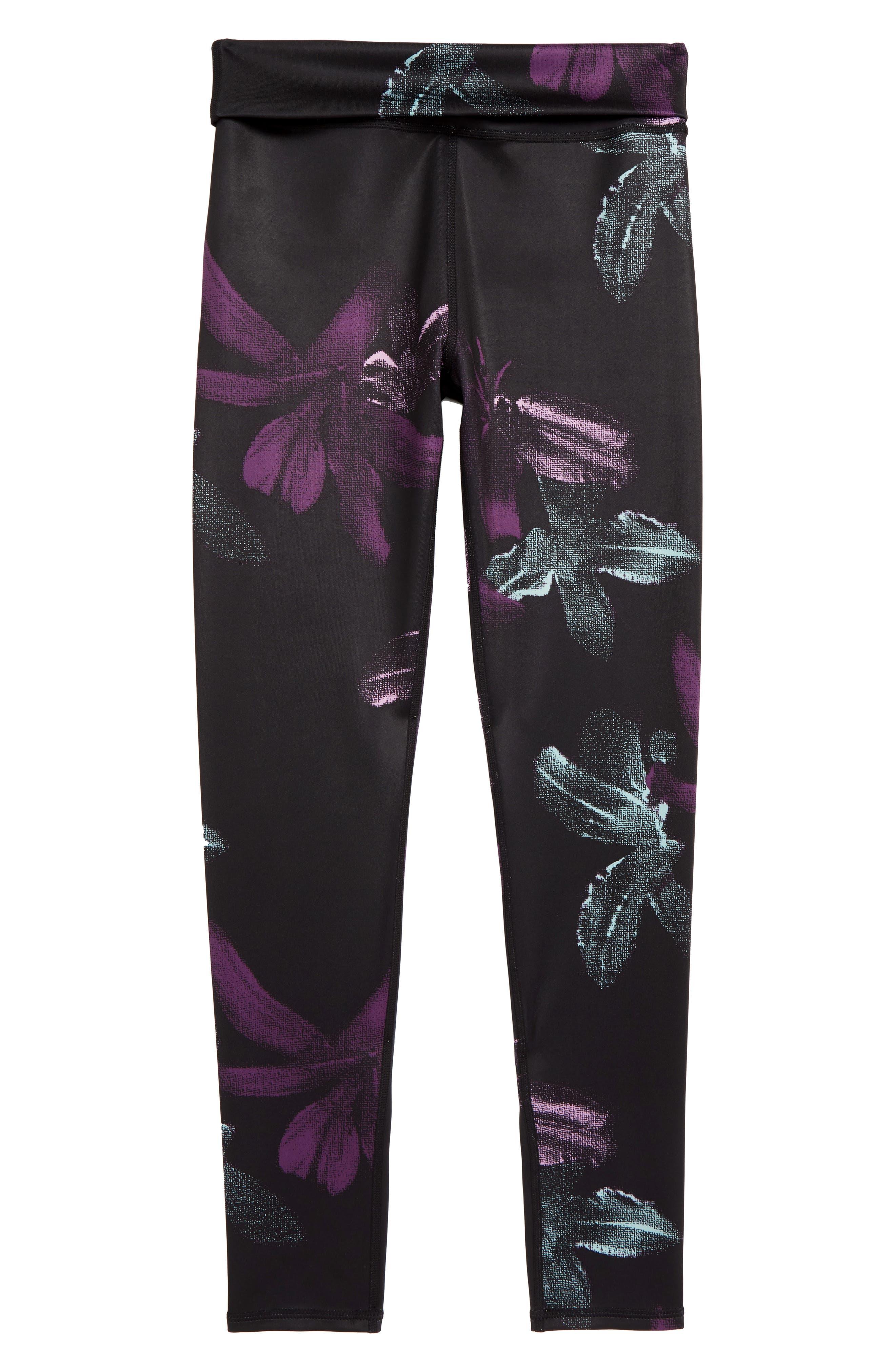 Fold-Over Reversible Leggings, Main, color, BLACK DARK FLORAL