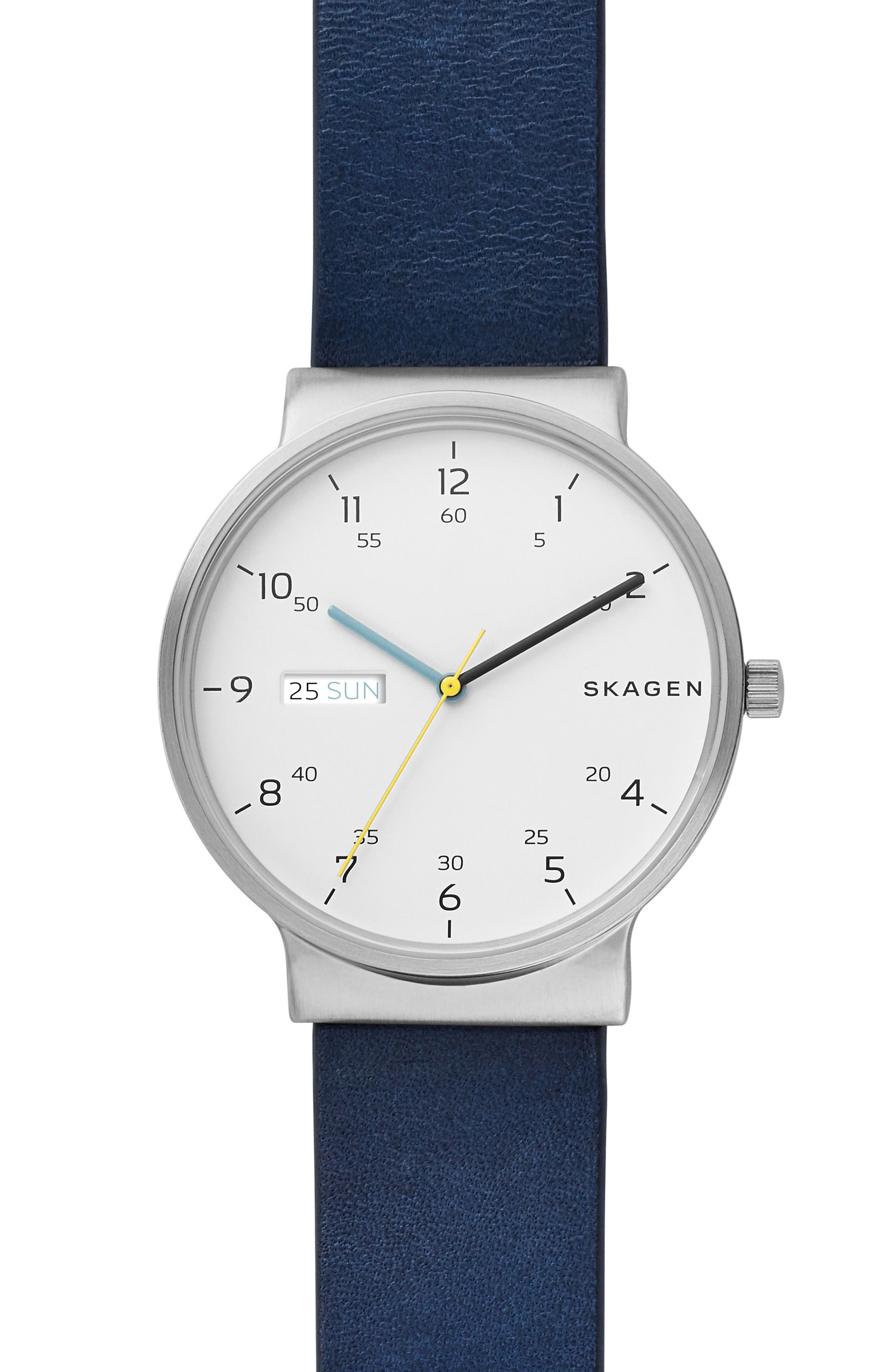 Ancher Leather Strap Watch, 40mm,                         Main,                         color, BLUE/ WHITE/ SILVER