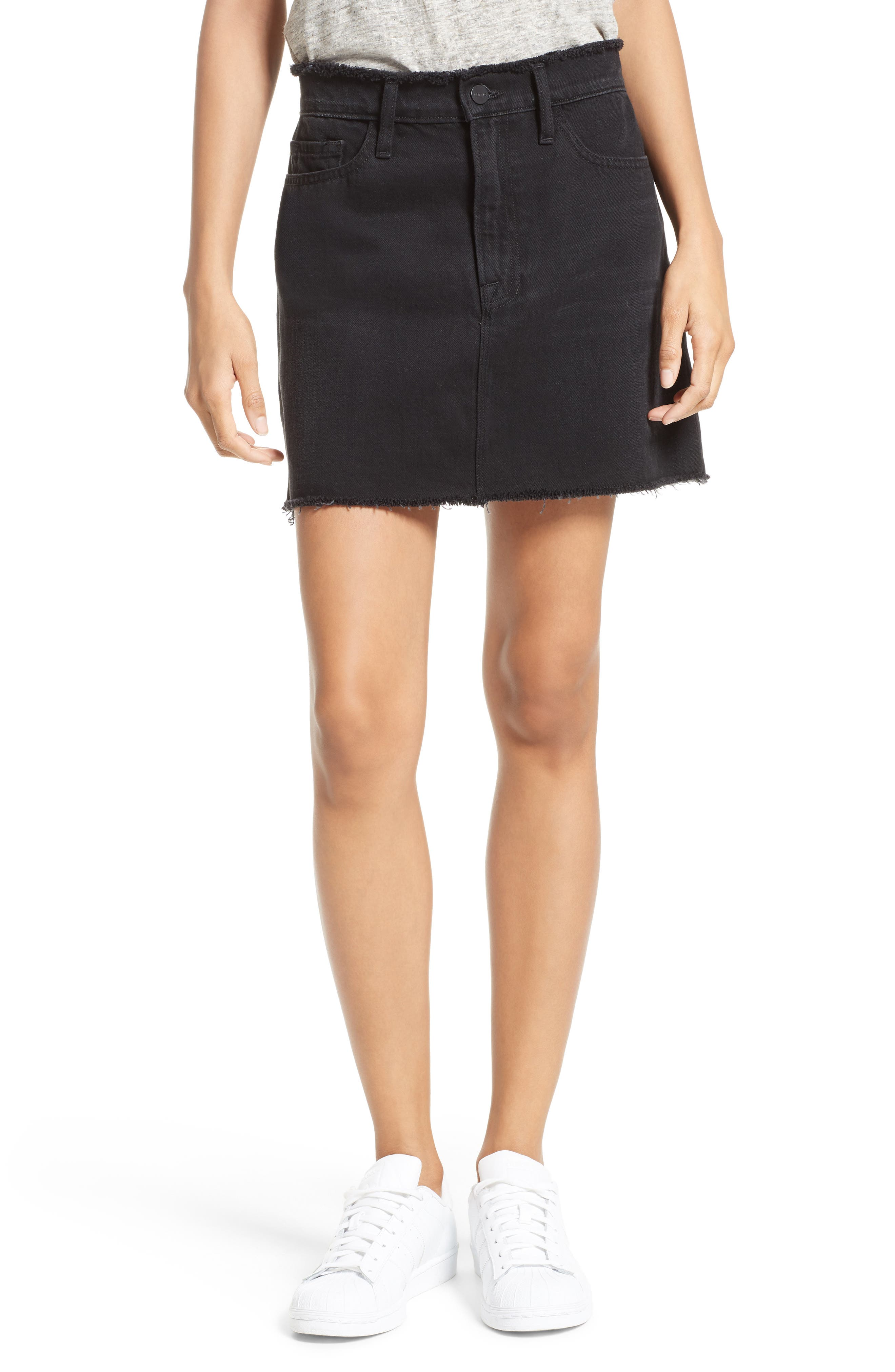 Le Mini Denim Skirt,                             Main thumbnail 1, color,                             001