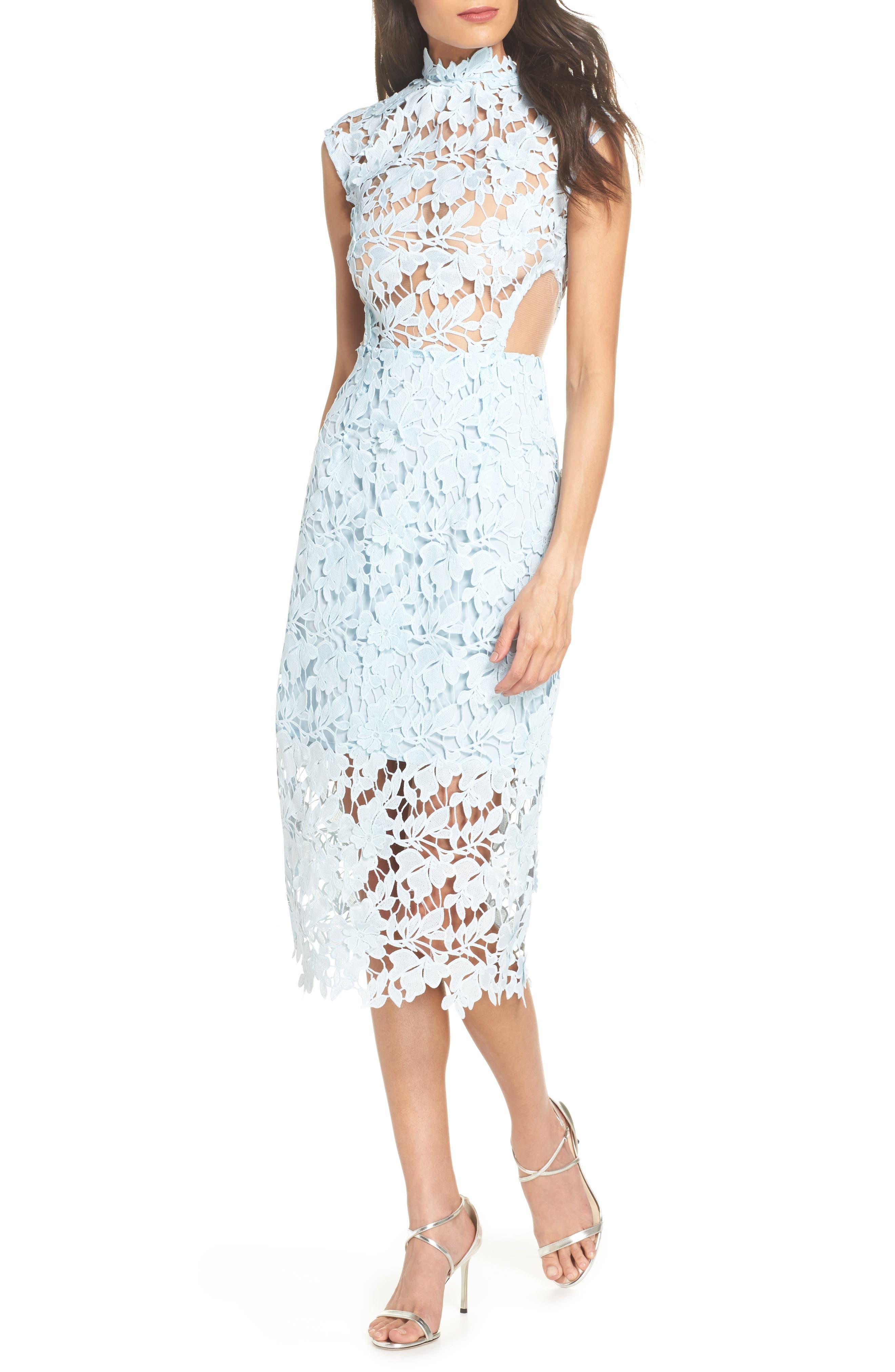 Lidia Lace Midi Dress,                             Main thumbnail 1, color,                             BLUE