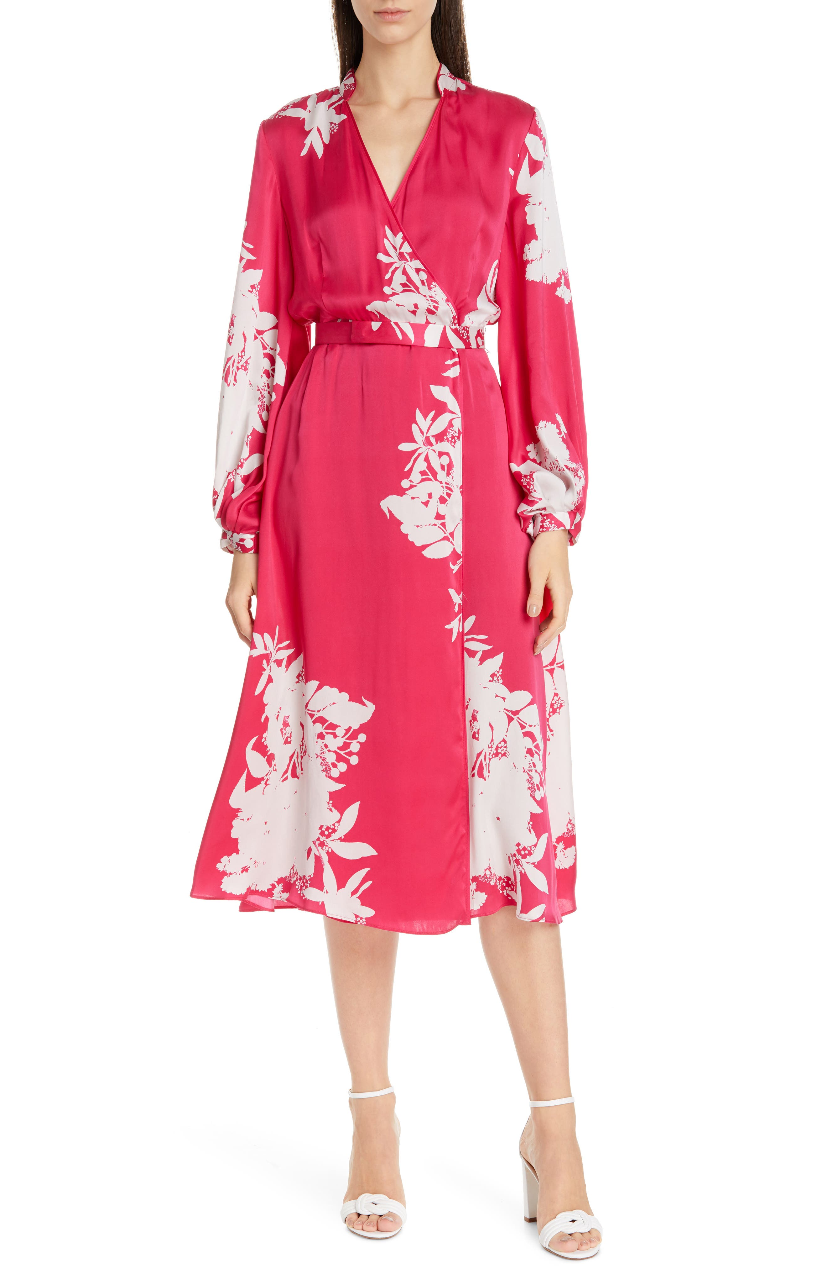 Equipment Andrese Silk Blend Wrap Long Sleeve Dress, Red