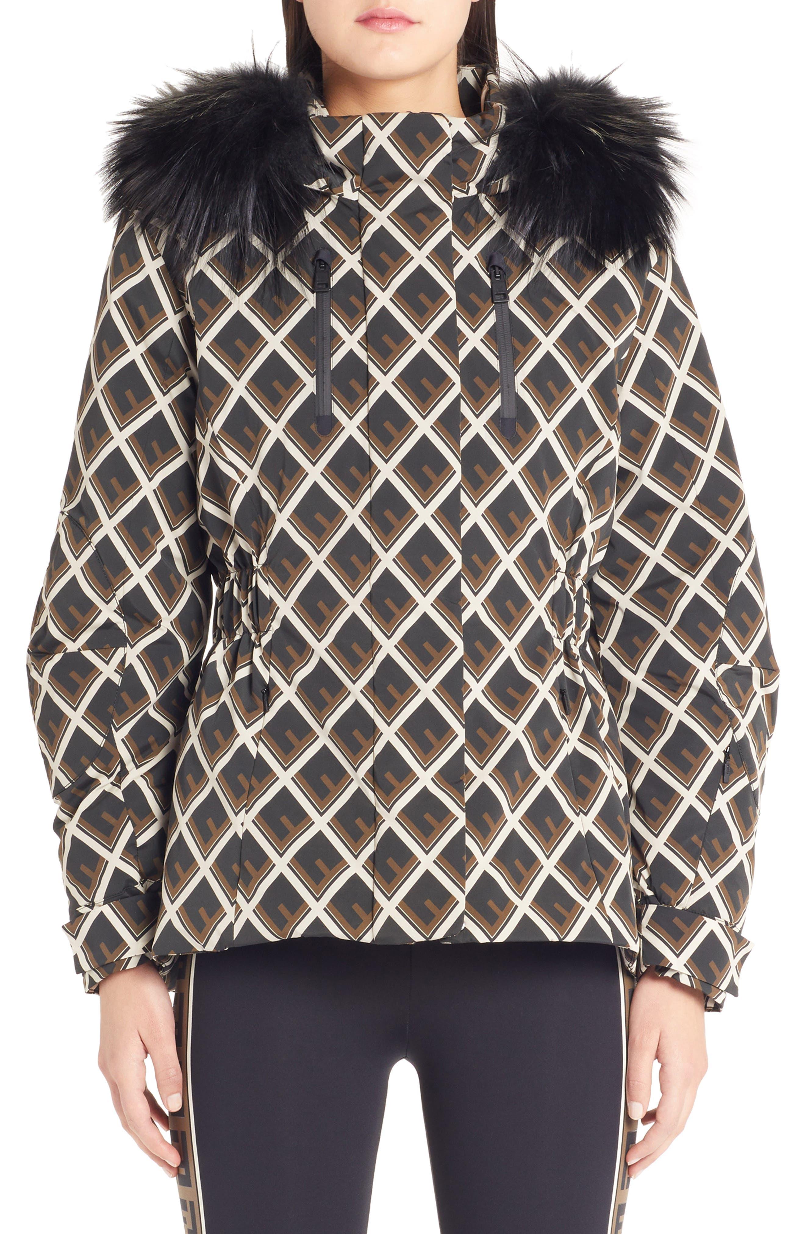 FENDI Deco-F Technical Coat with Genuine Fox Fur Trim, Main, color, BLACK