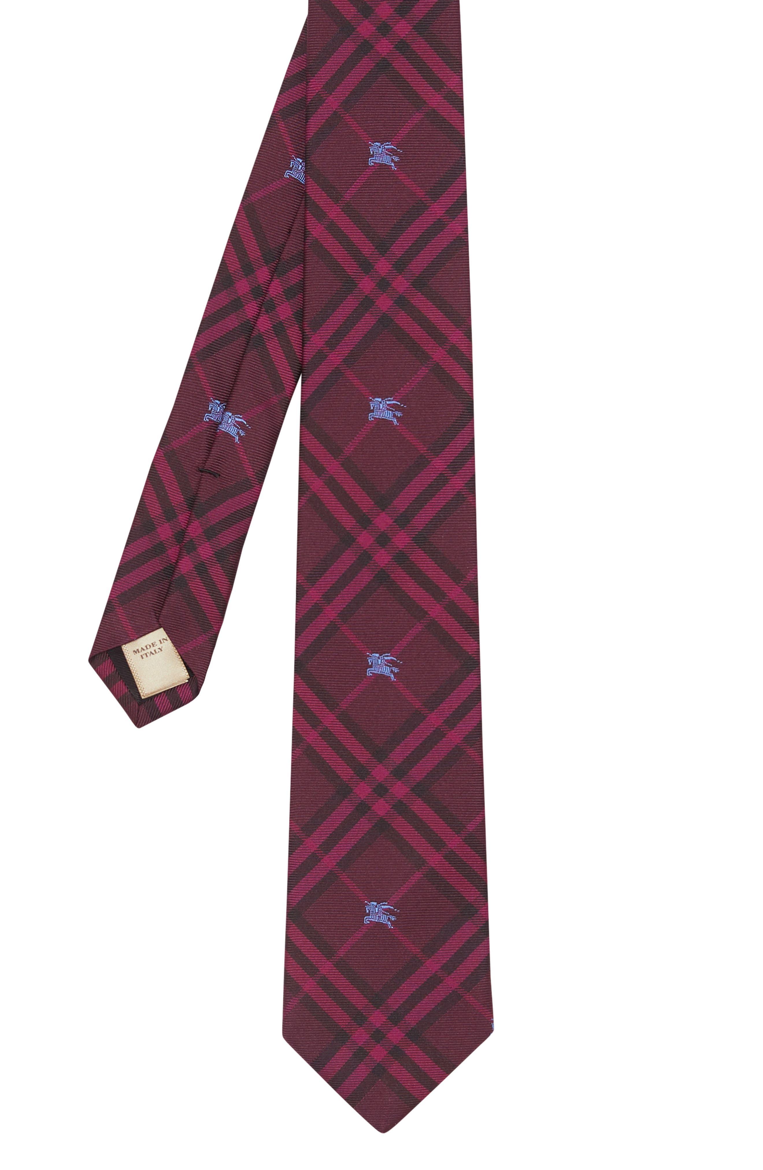 BURBERRY,                             Stanfield Silk Tie,                             Alternate thumbnail 4, color,                             DARK ELDERBERRY