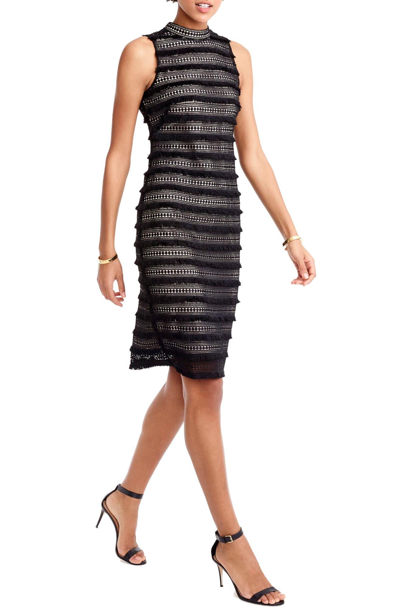 Fringy Lace Sheath Dress,                             Main thumbnail 1, color,                             001