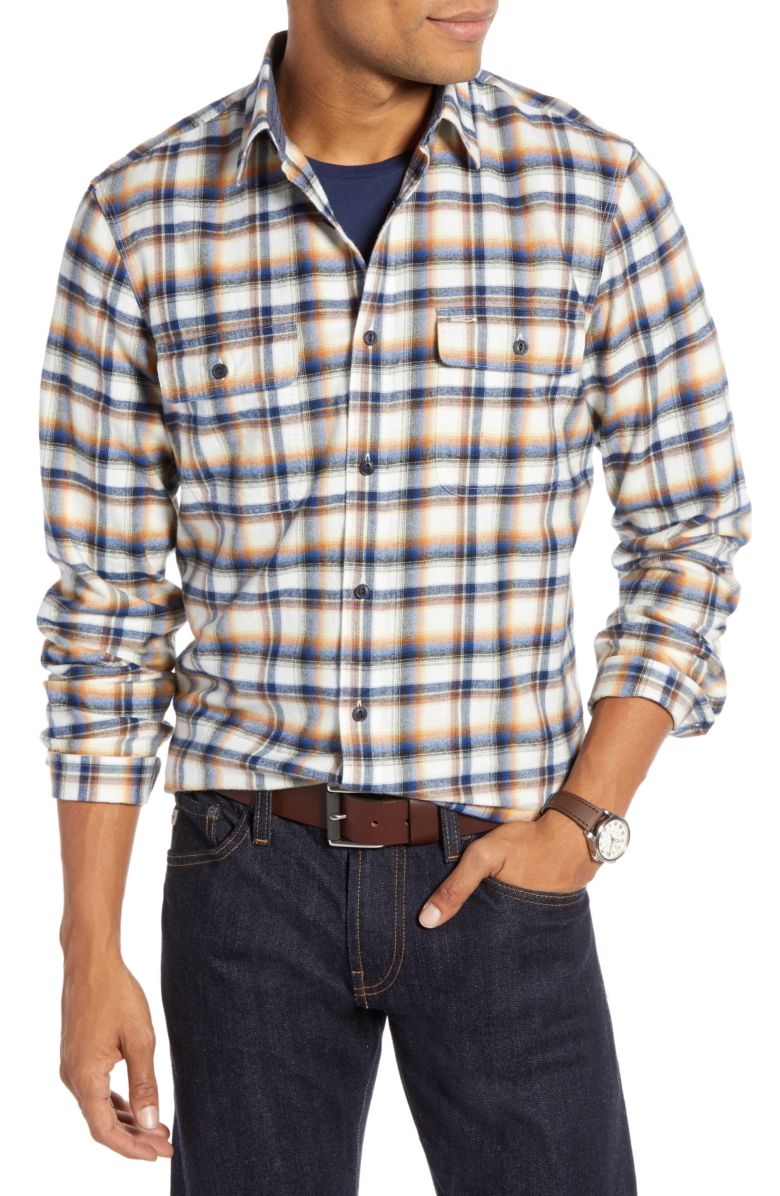 Trim Fit Trucker Plaid Sport Shirt,                         Main,                         color, IVORY BLUE ORANGE PLAID