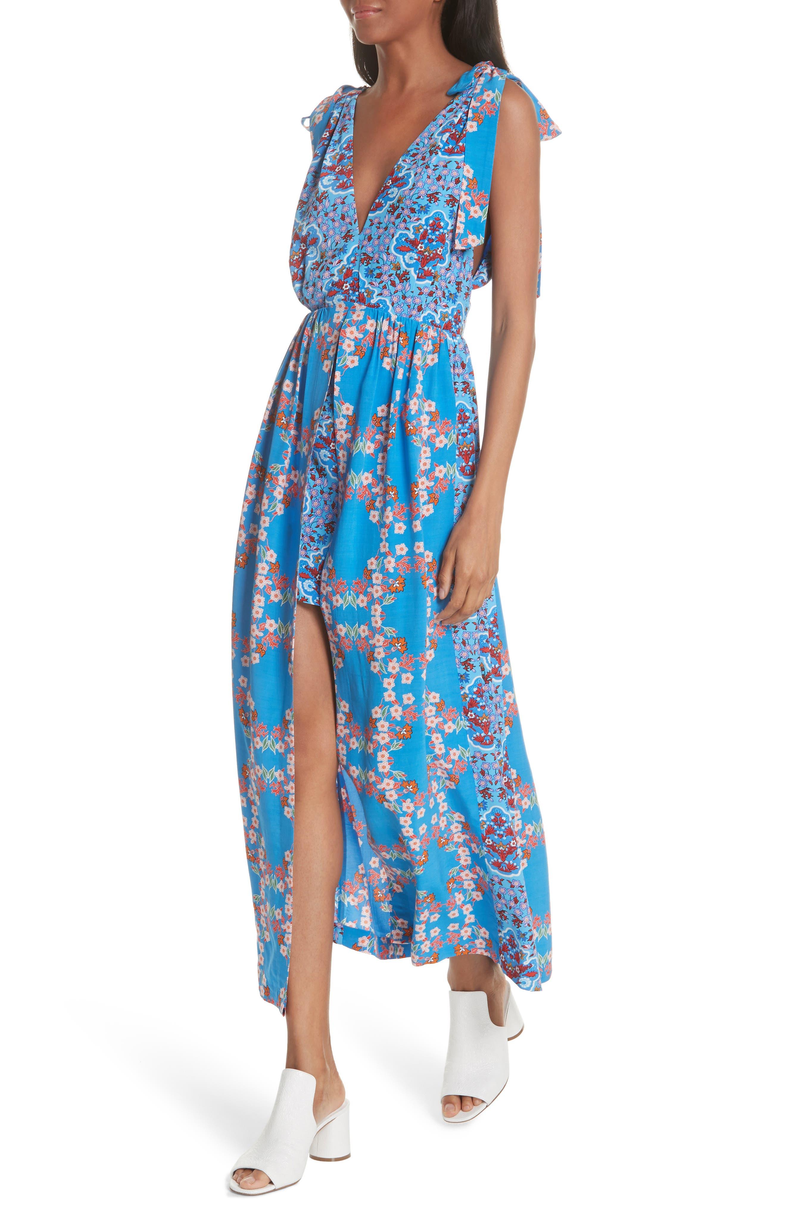 Floral Plunging Slit Dress,                             Alternate thumbnail 4, color,                             400