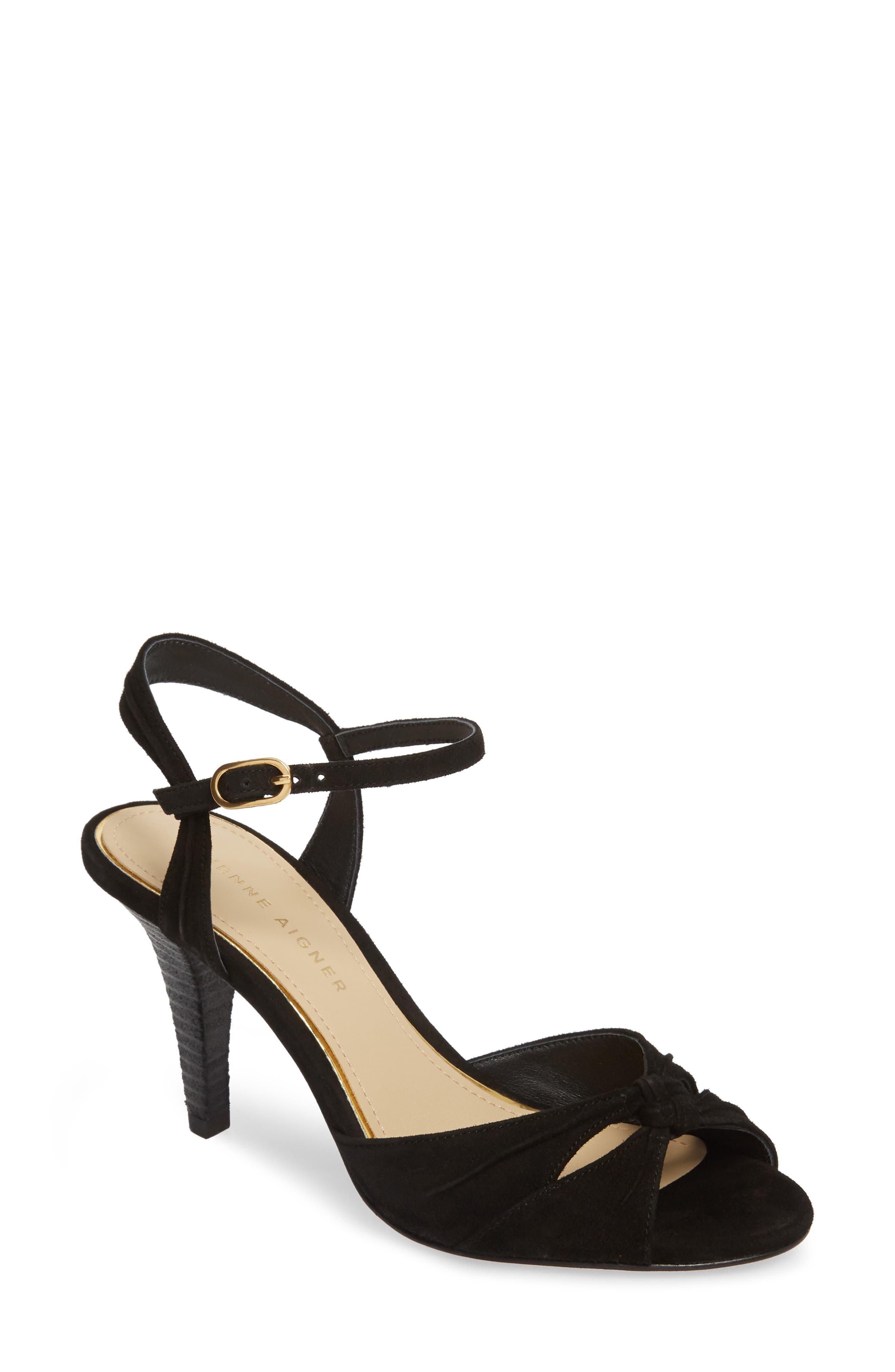 Seneca Sandal,                         Main,                         color, BLACK SUEDE