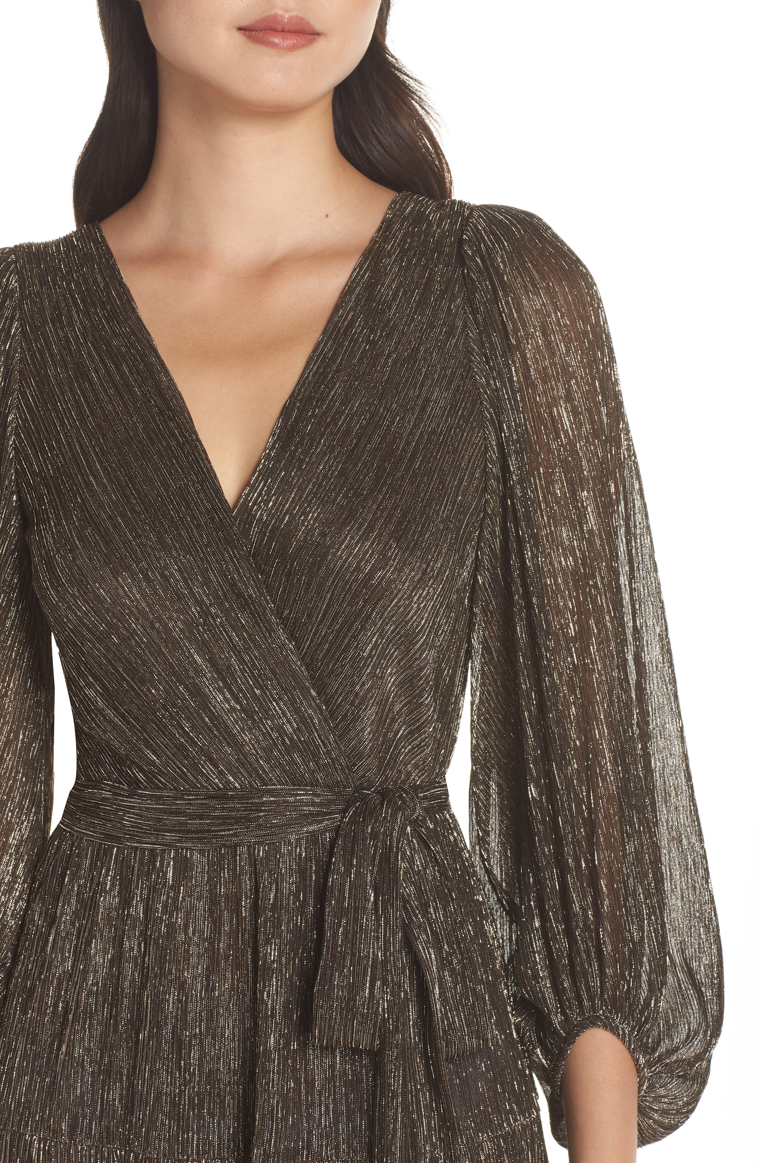 ELIZA J,                             Backless Metallic Maxi Wrap Dress,                             Alternate thumbnail 5, color,                             GOLD