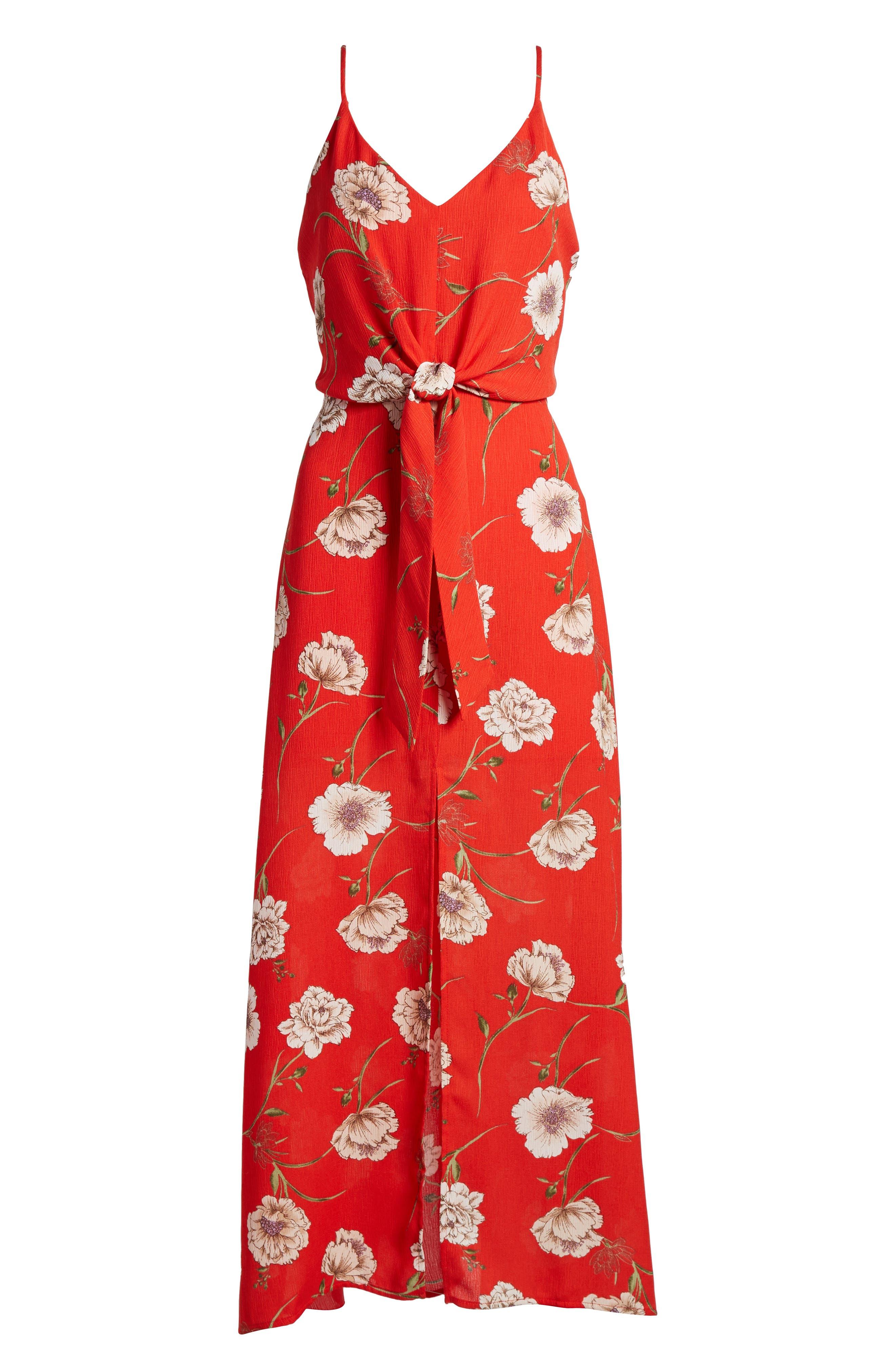 Floral Print Maxi Dress,                             Alternate thumbnail 6, color,                             600
