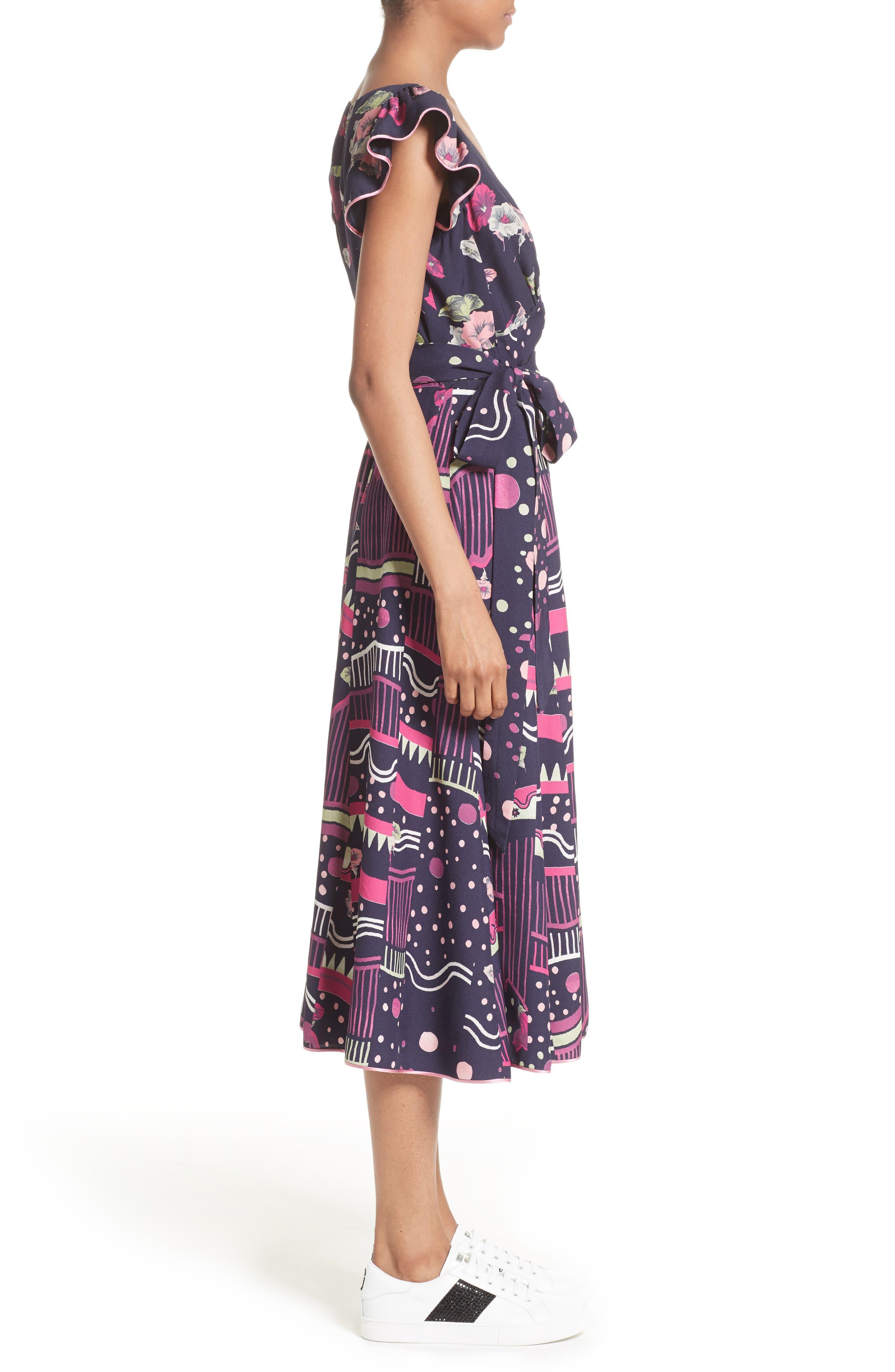Glories Crepe Back Satin Midi Wrap Dress,                             Alternate thumbnail 3, color,                             411
