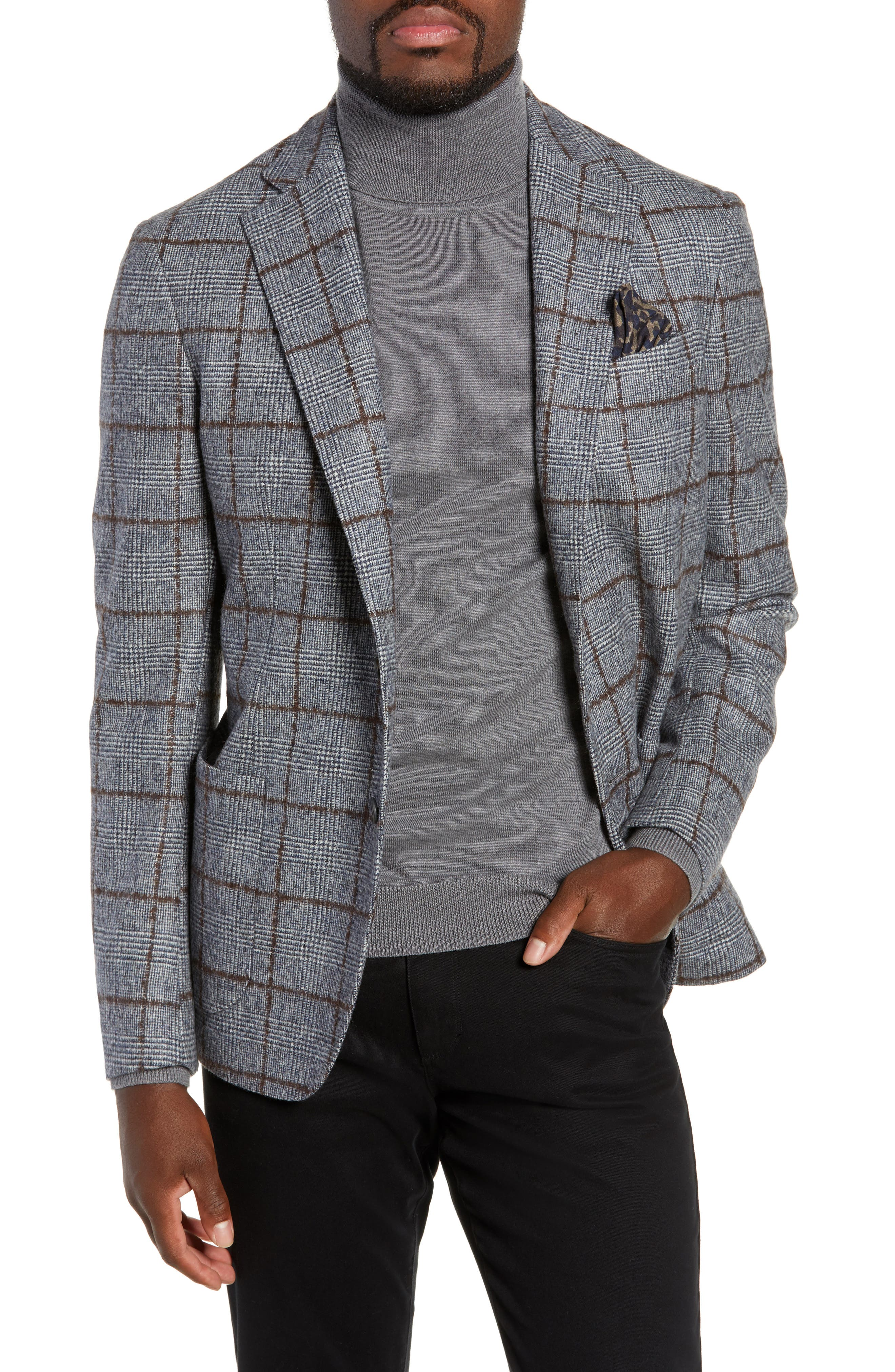 Trim Fit Plaid Wool Sport Coat,                             Main thumbnail 1, color,                             NAVY