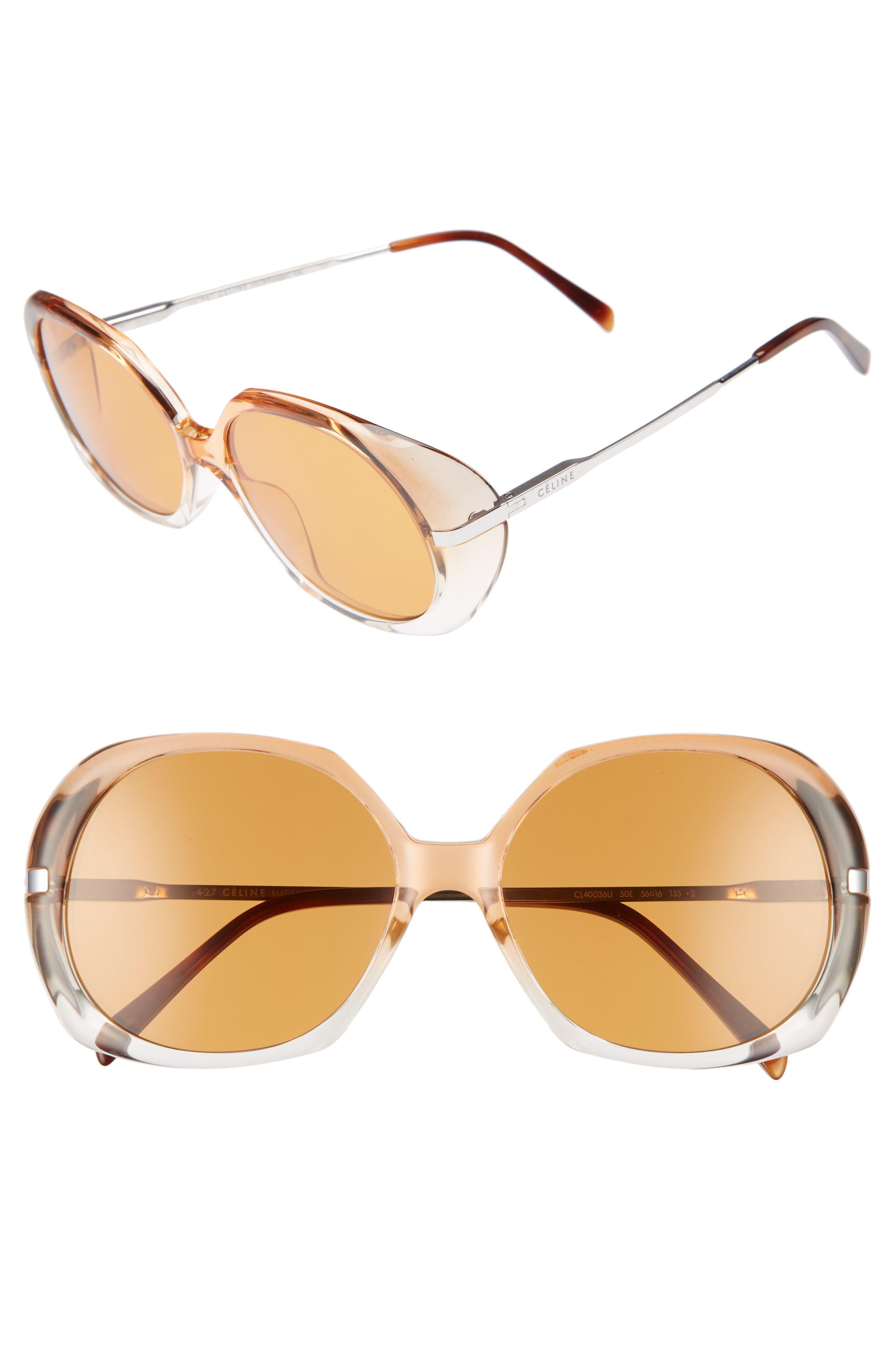 56mm Round Sunglasses,                         Main,                         color, 200