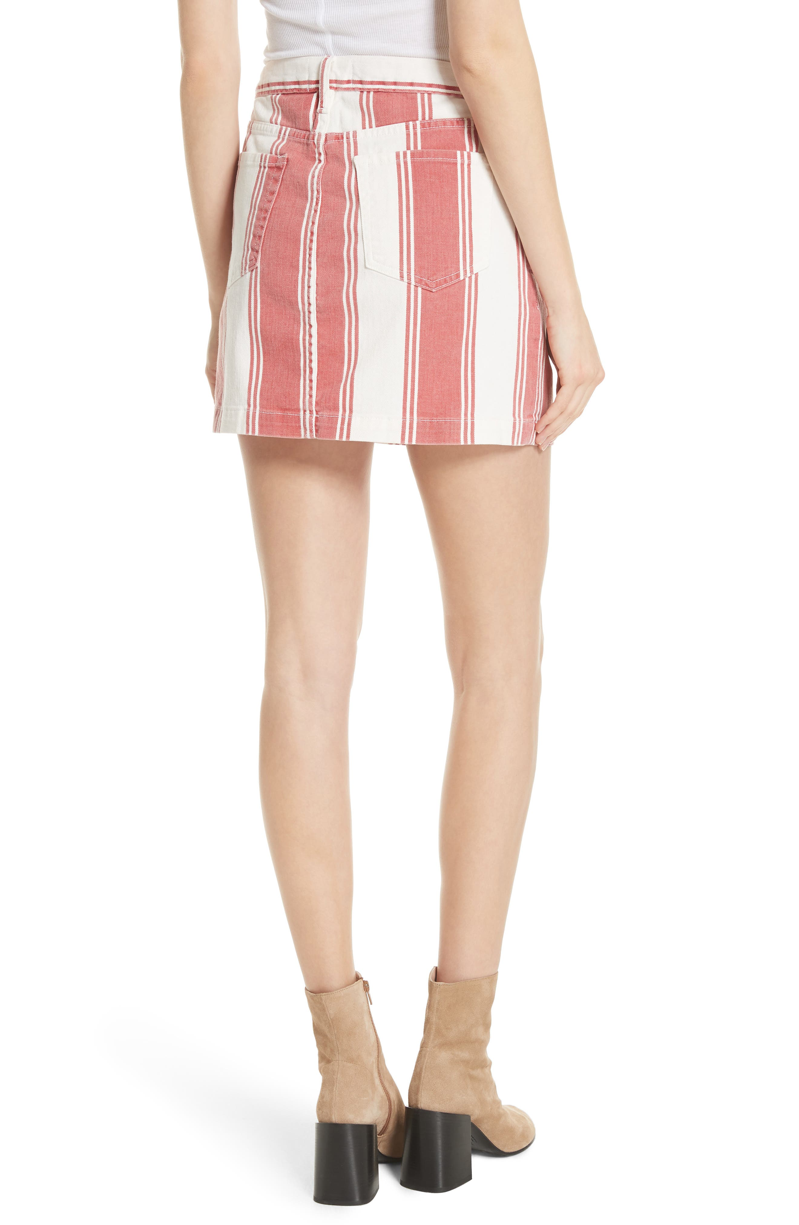 Le Mini Stripe Denim Skirt,                             Alternate thumbnail 2, color,                             FIERY STRIPE