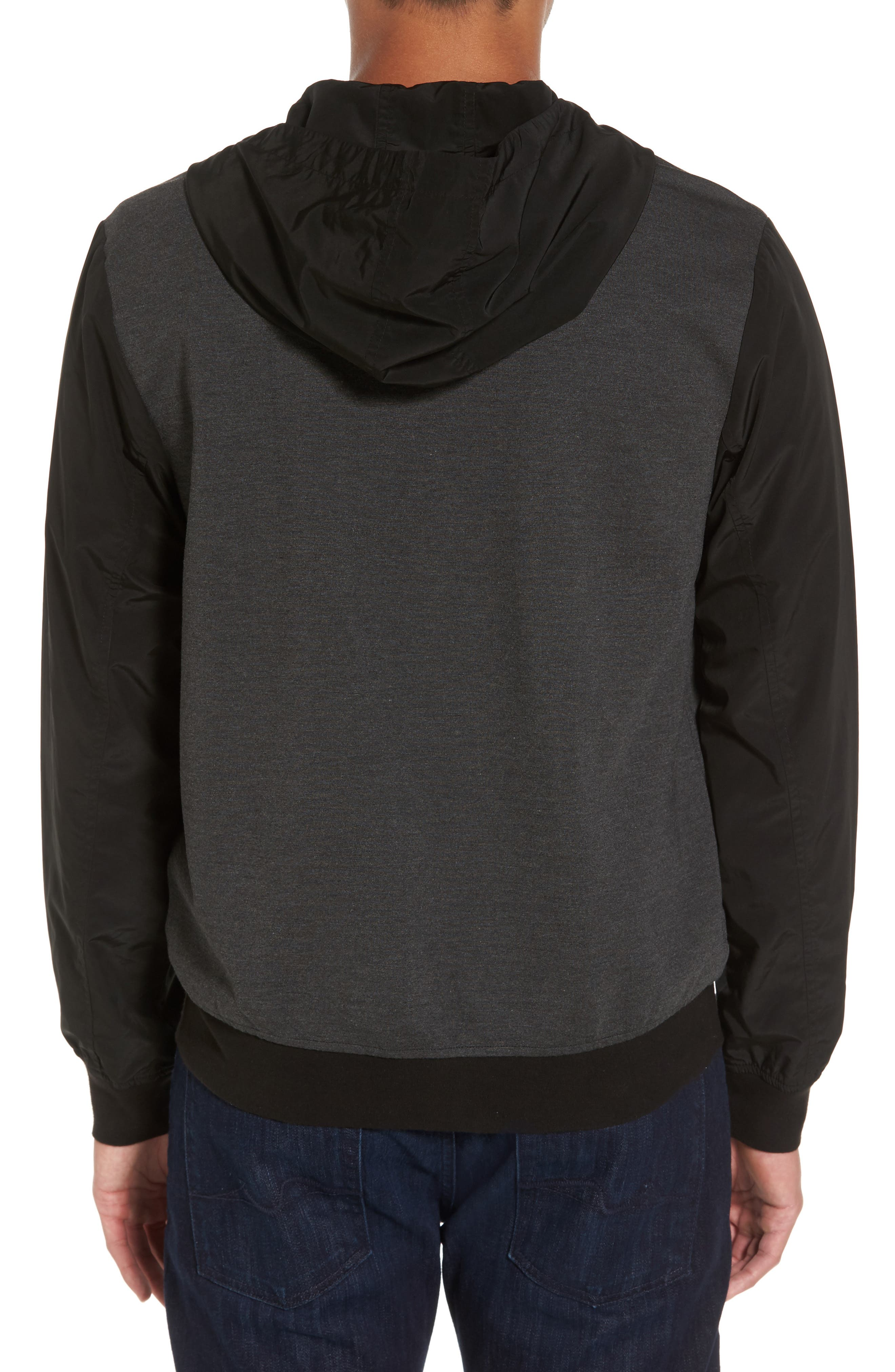 Mixed Media Zip Front Hoodie,                             Alternate thumbnail 2, color,                             020