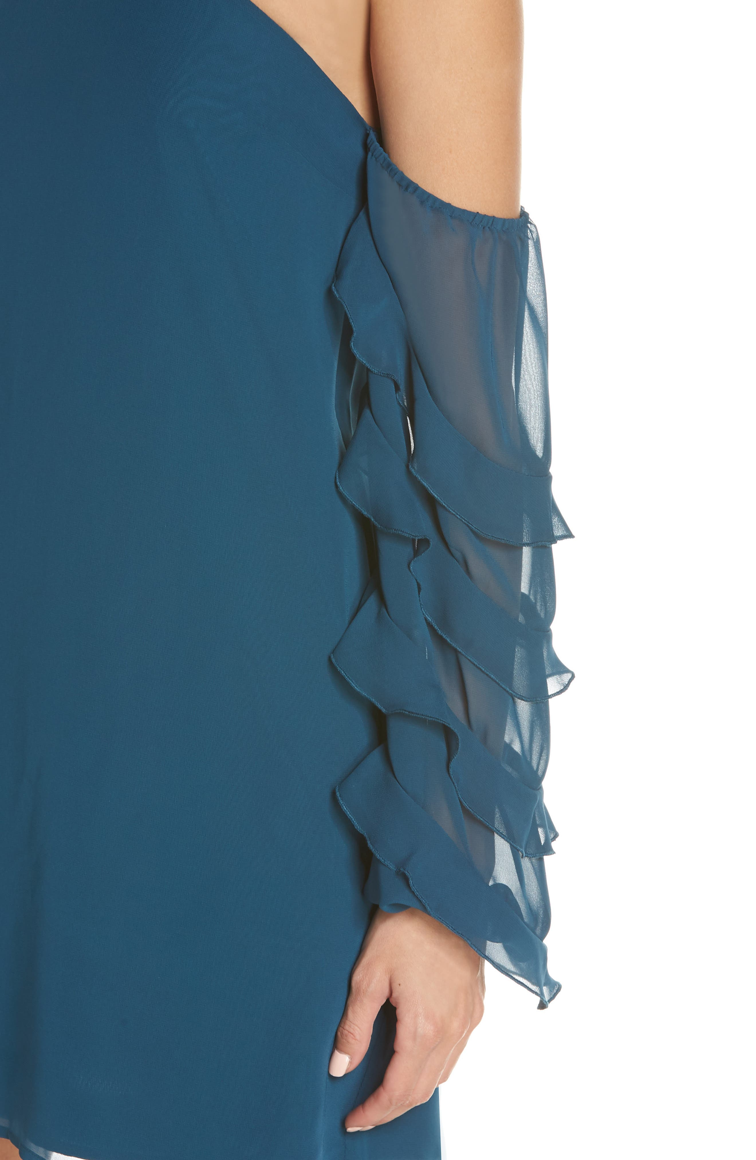 Love the Way I Look Tonight One-Shoulder Minidress,                             Alternate thumbnail 4, color,                             TEAL